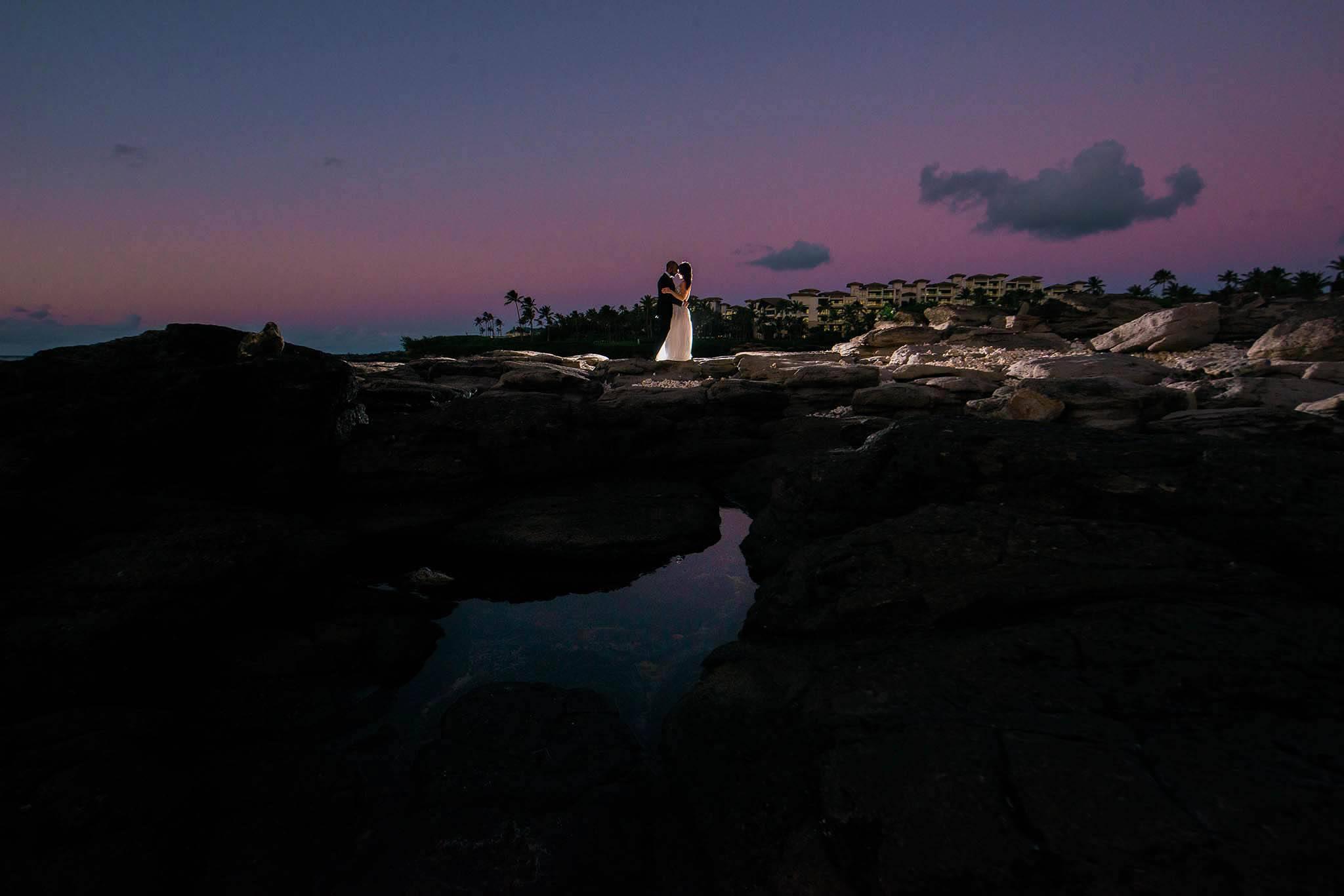 maui wedding at sunset at merrimans kapalua