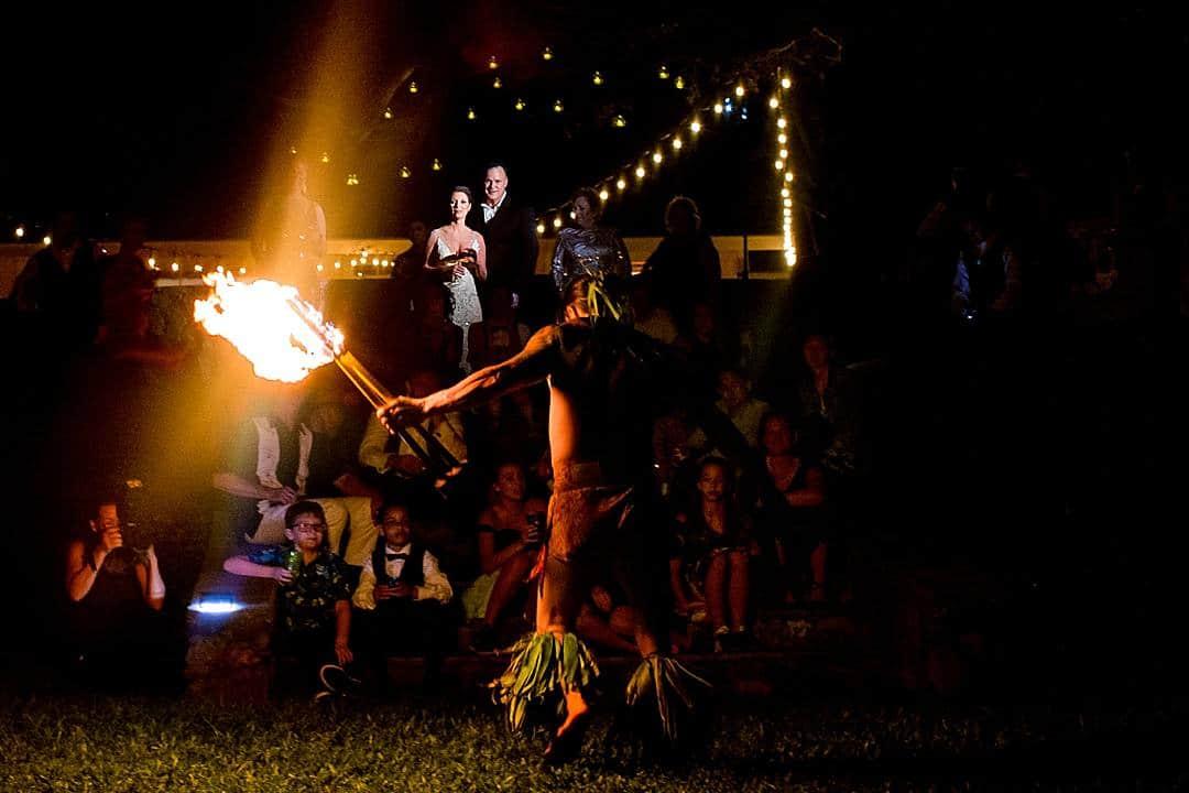 fire dancing at hawaii wedding