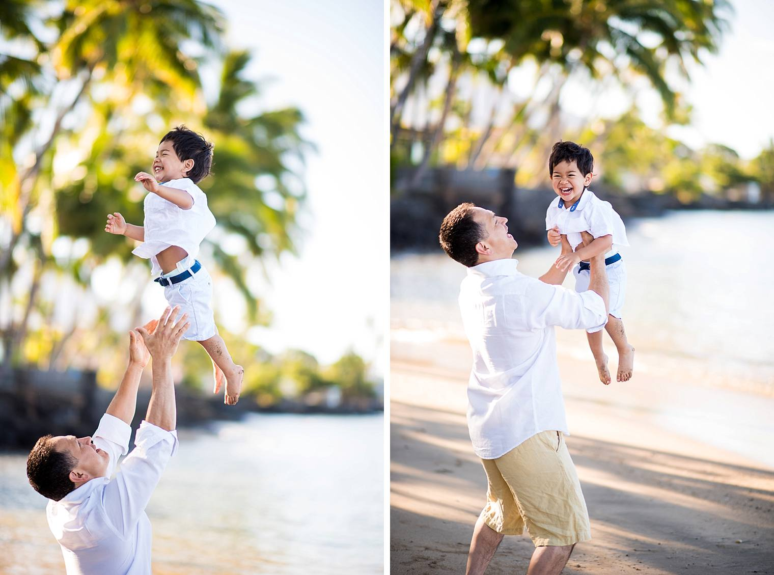 father throwing son in the air