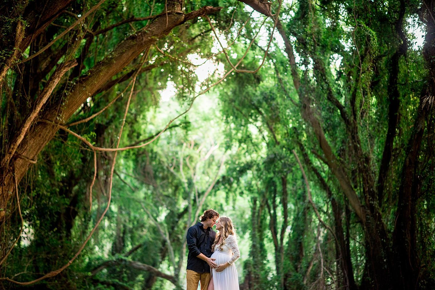 couple in Honolua jungle in Kapalua