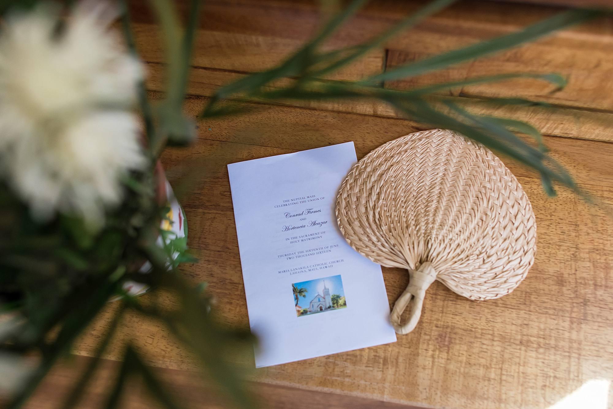 wedding program and fans for lahaina wedding