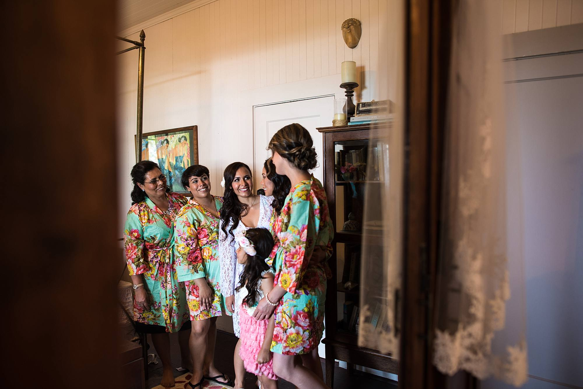 Bridesmaids in matching floral robes