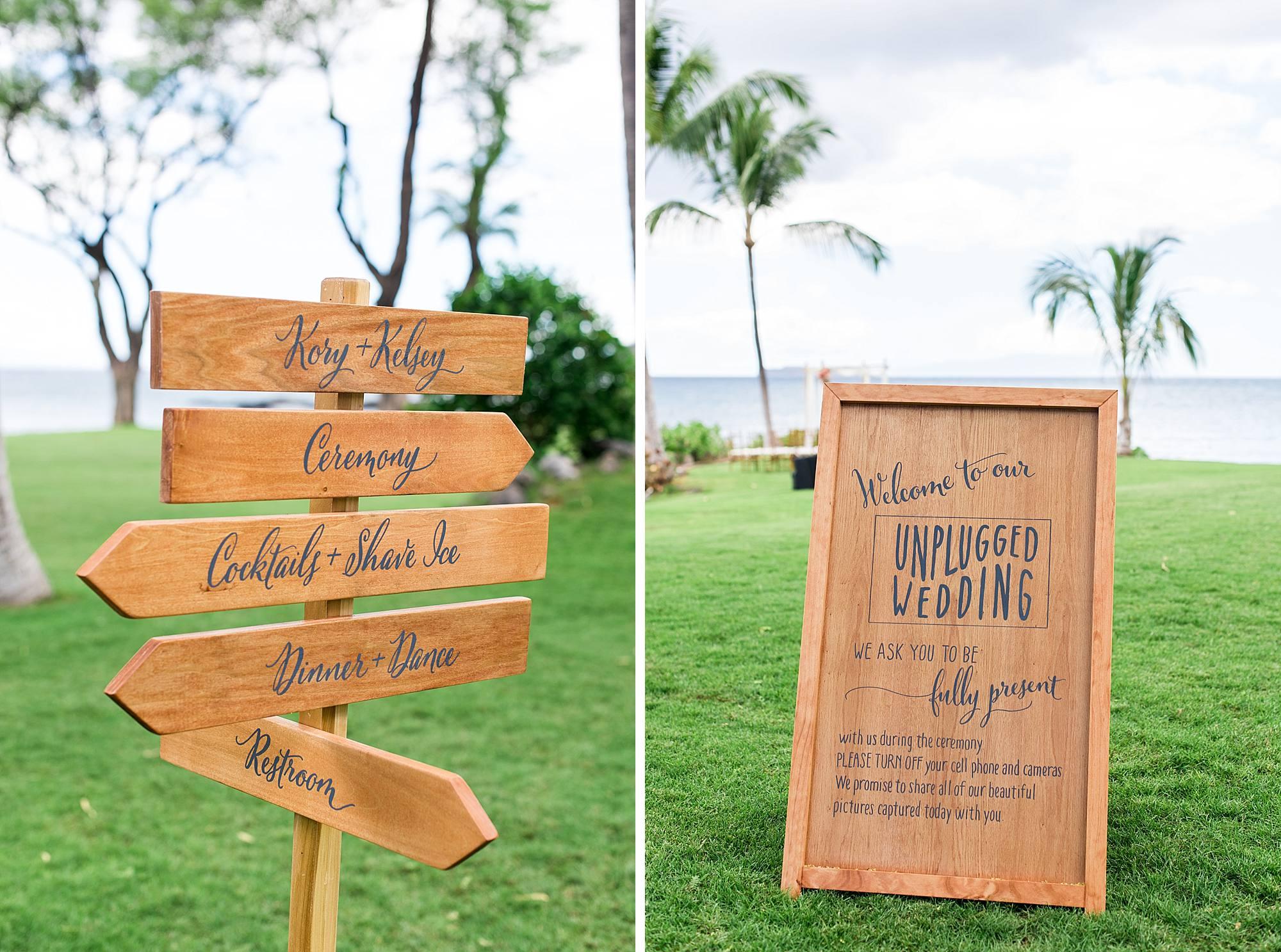 unplugged wedding sign
