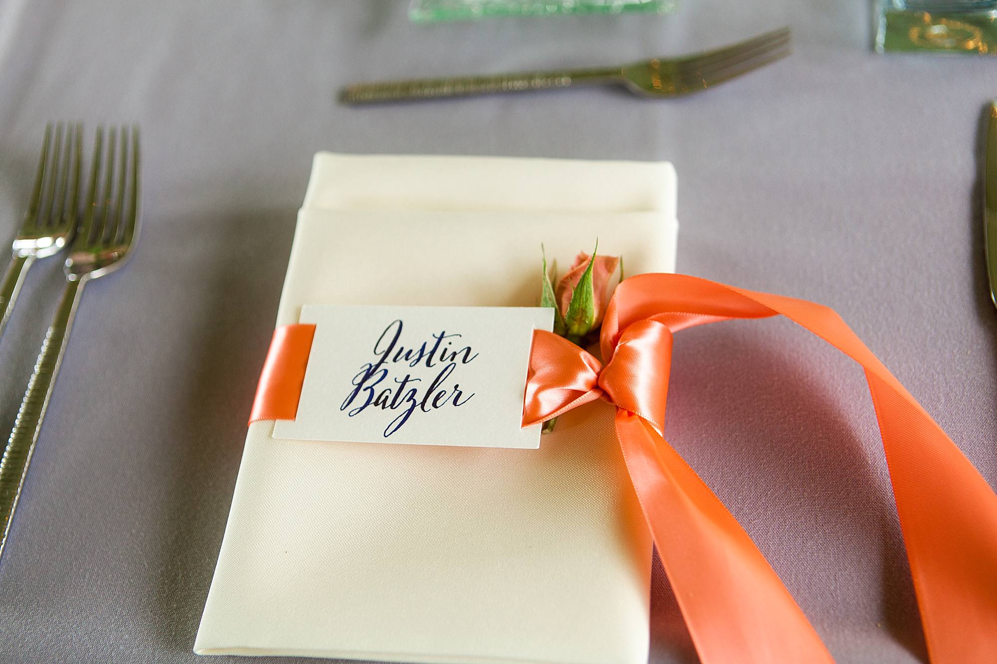 coral napkin placements