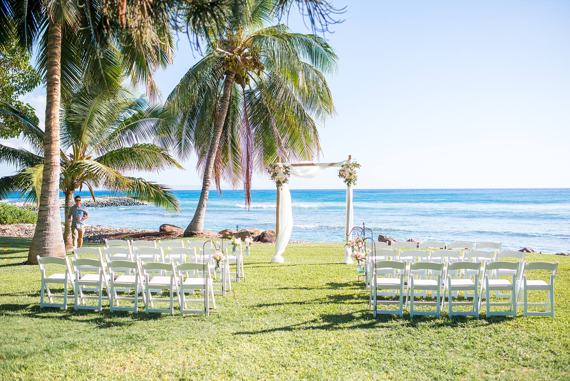 Pre-wedding set up overlooking the Pacific