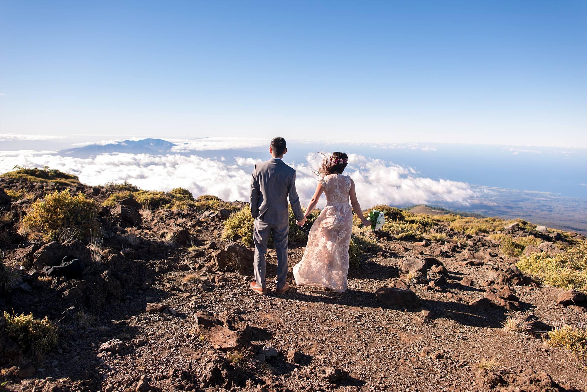 wedding couple holding hands, backs to camera