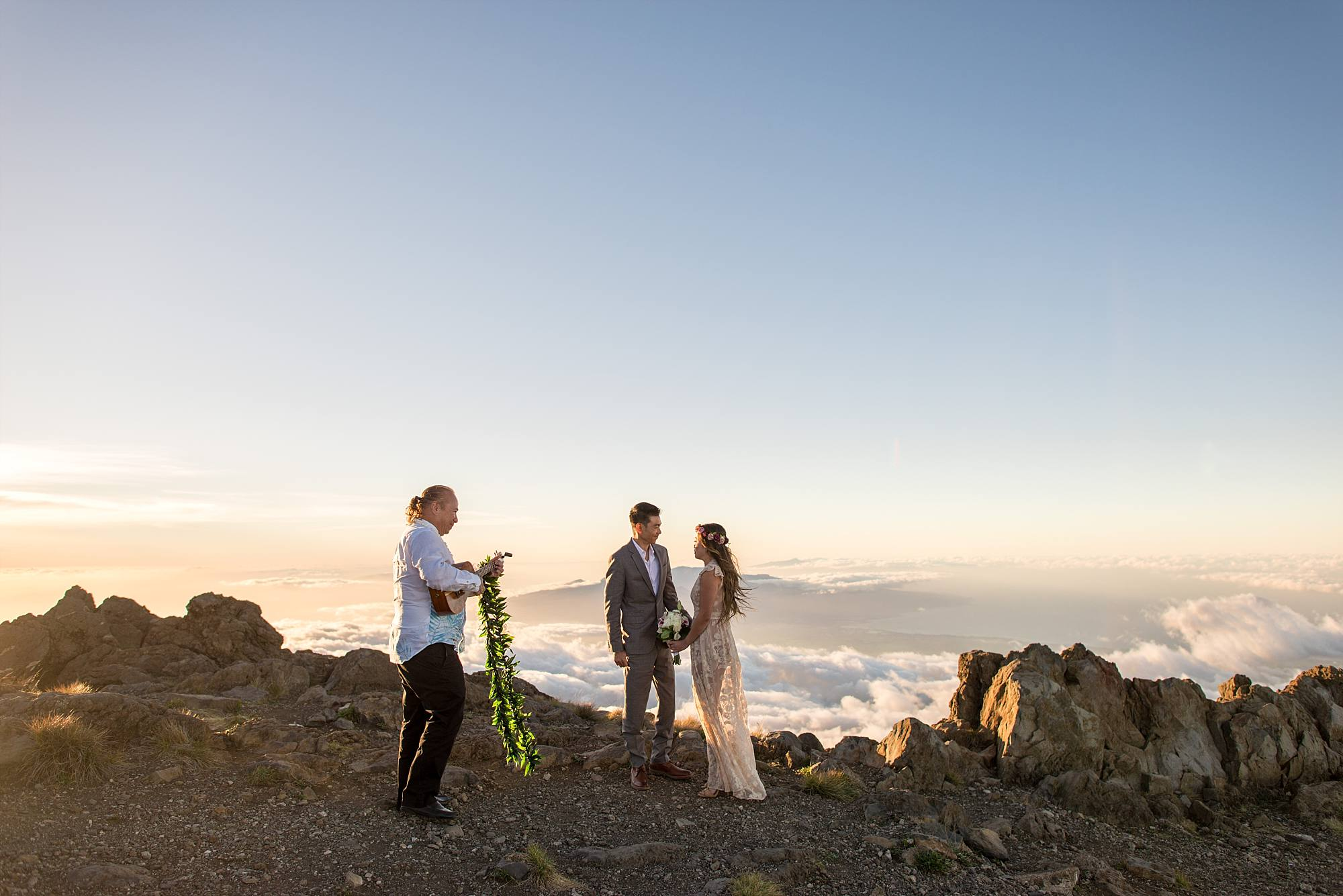 first moment bride and groom are together for their ceremony on top of Haleakala
