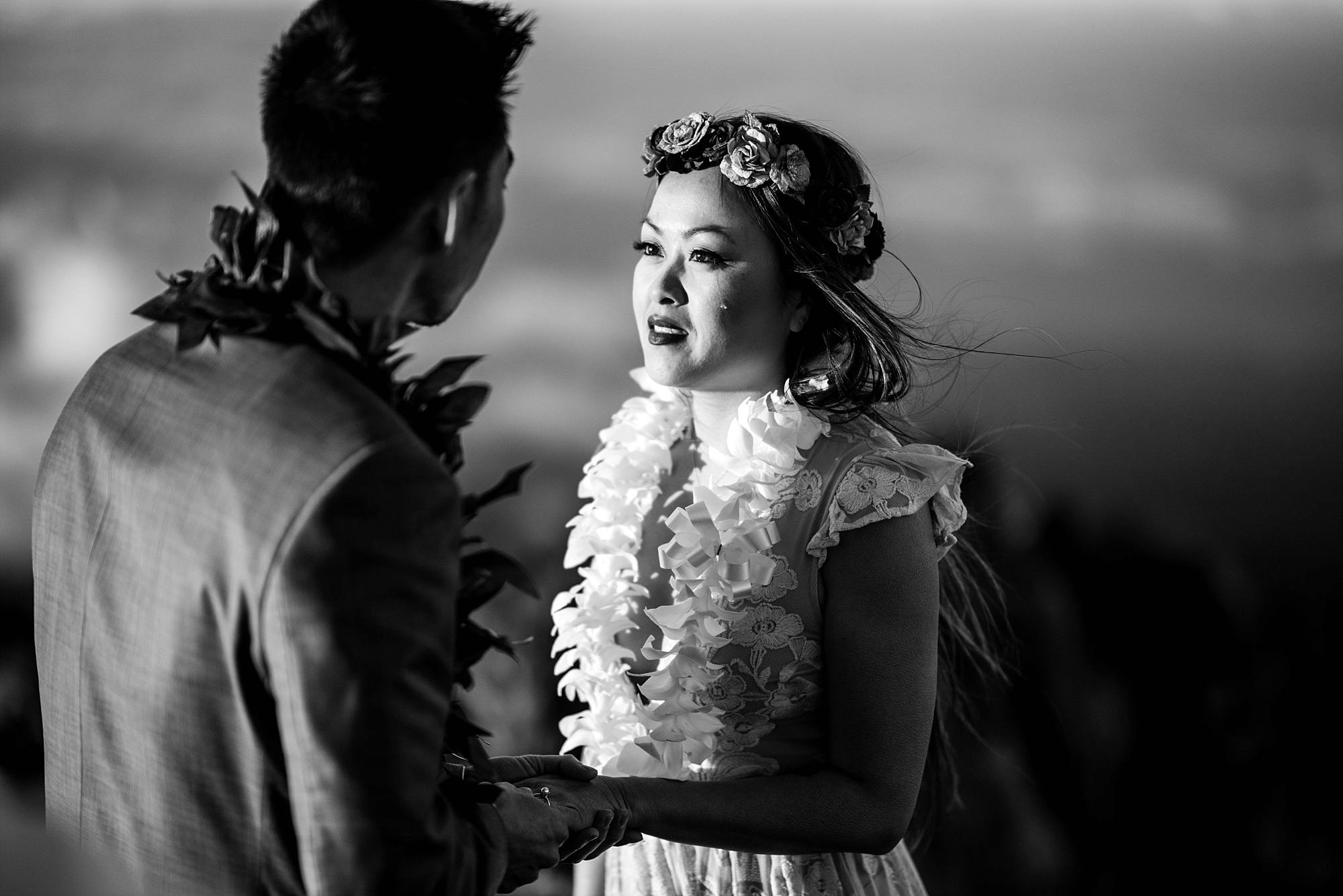 bride gazing at groom during vows