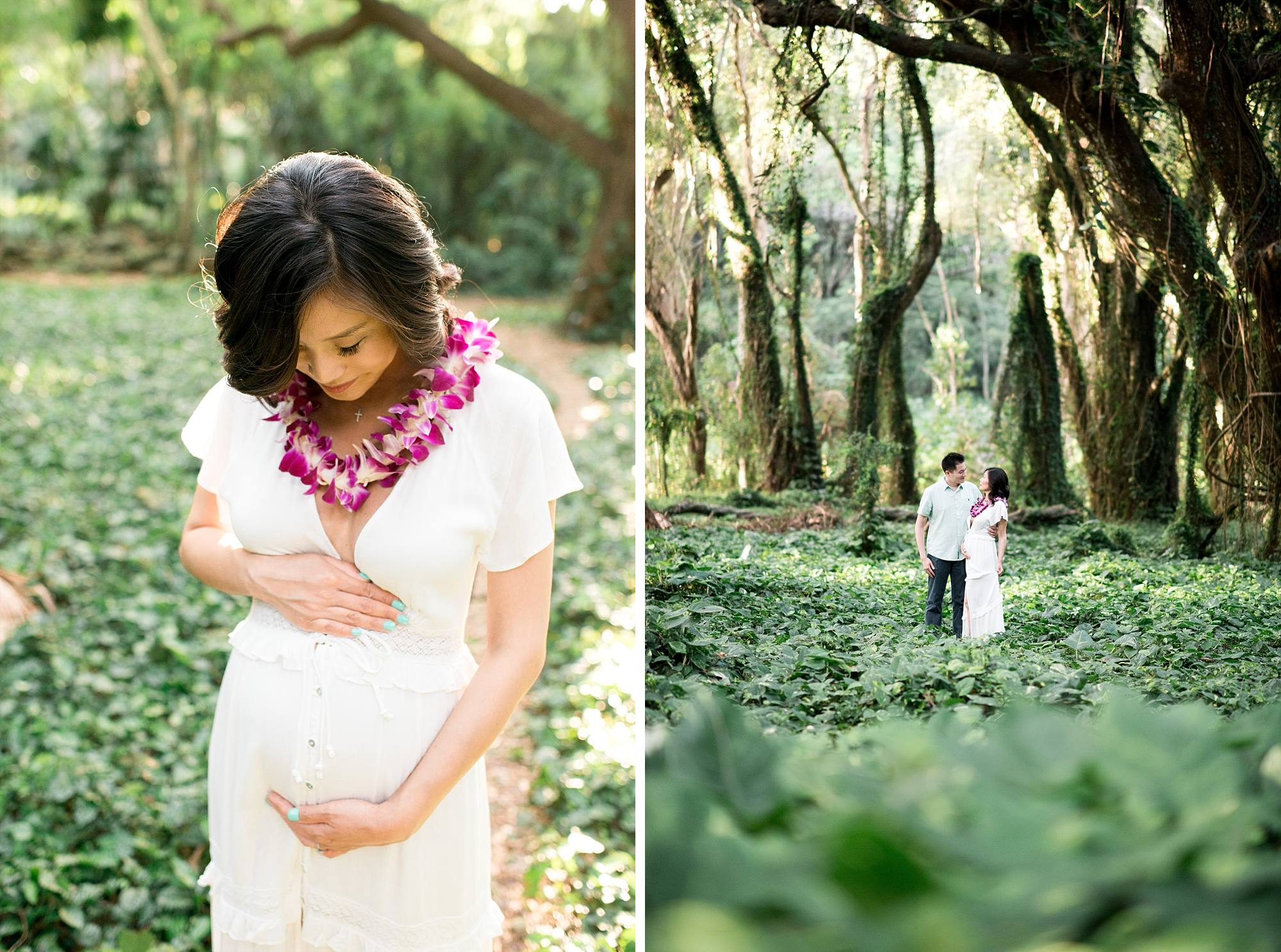 Maternity photo of woman looking down at her belly and one of husband and wife embracing