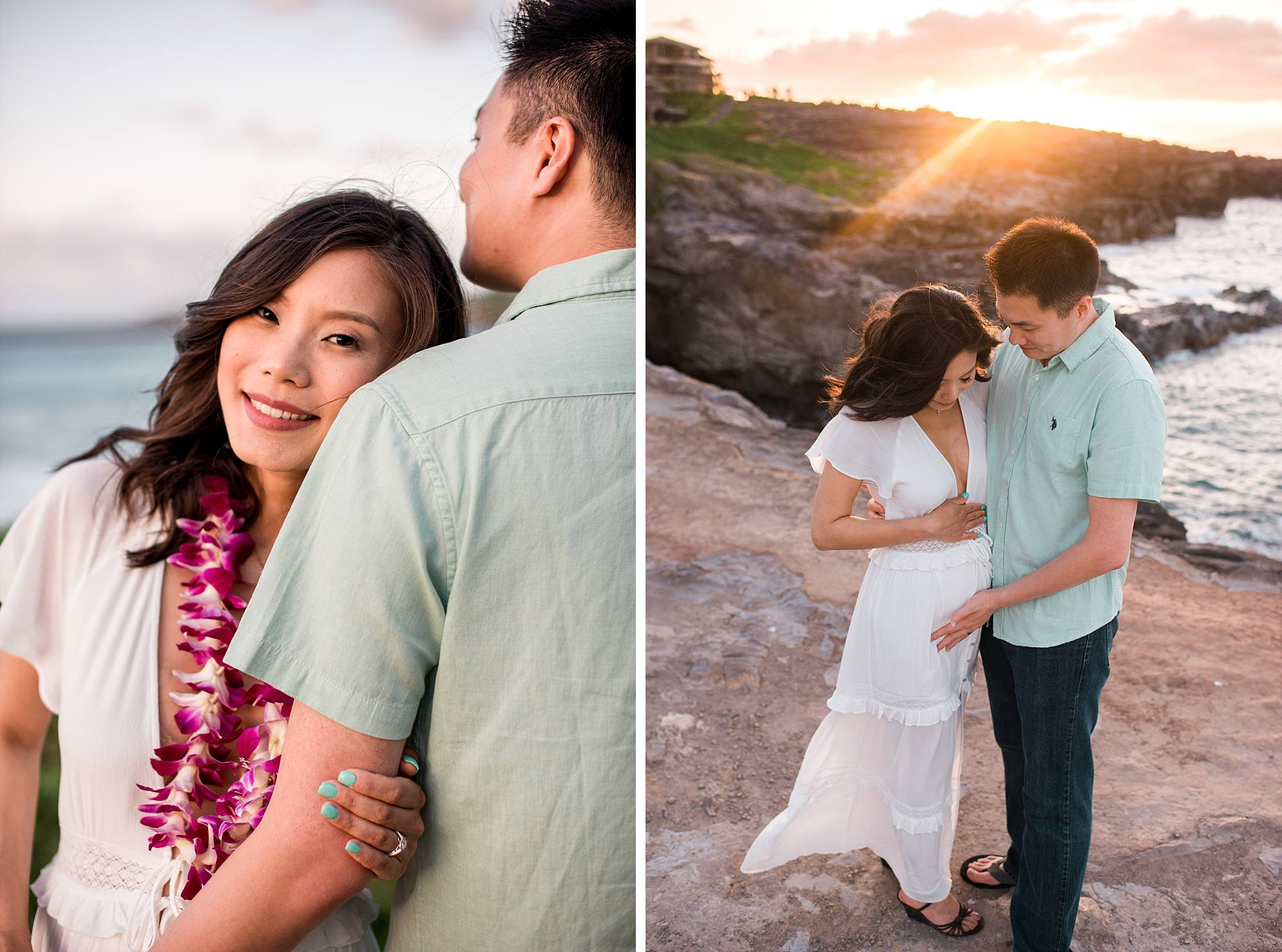 cuddling couple at their maternity session