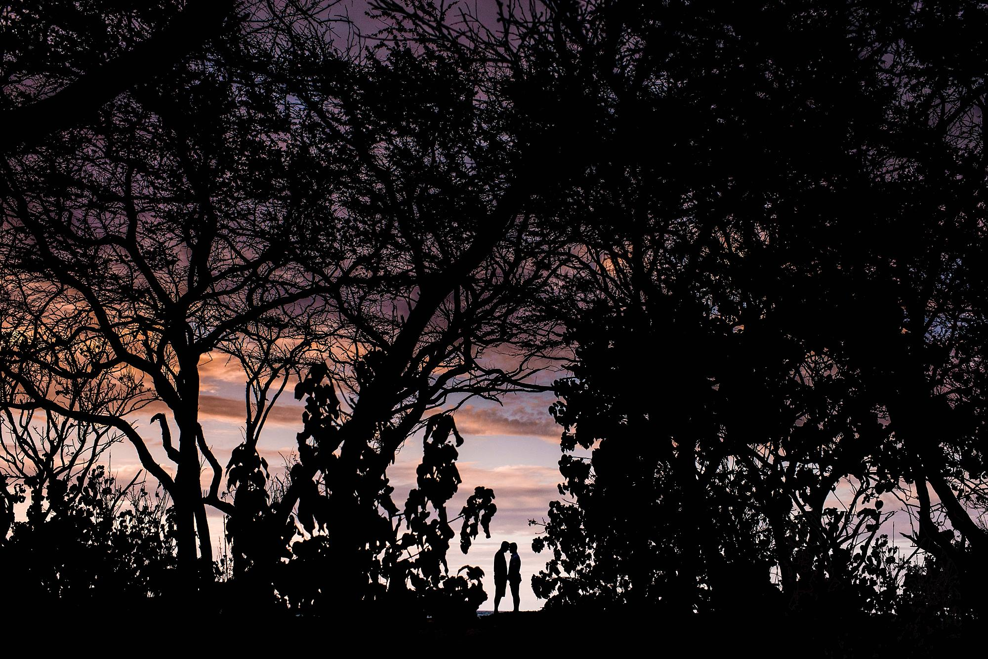 silhouettes of couple and Maui's sunset