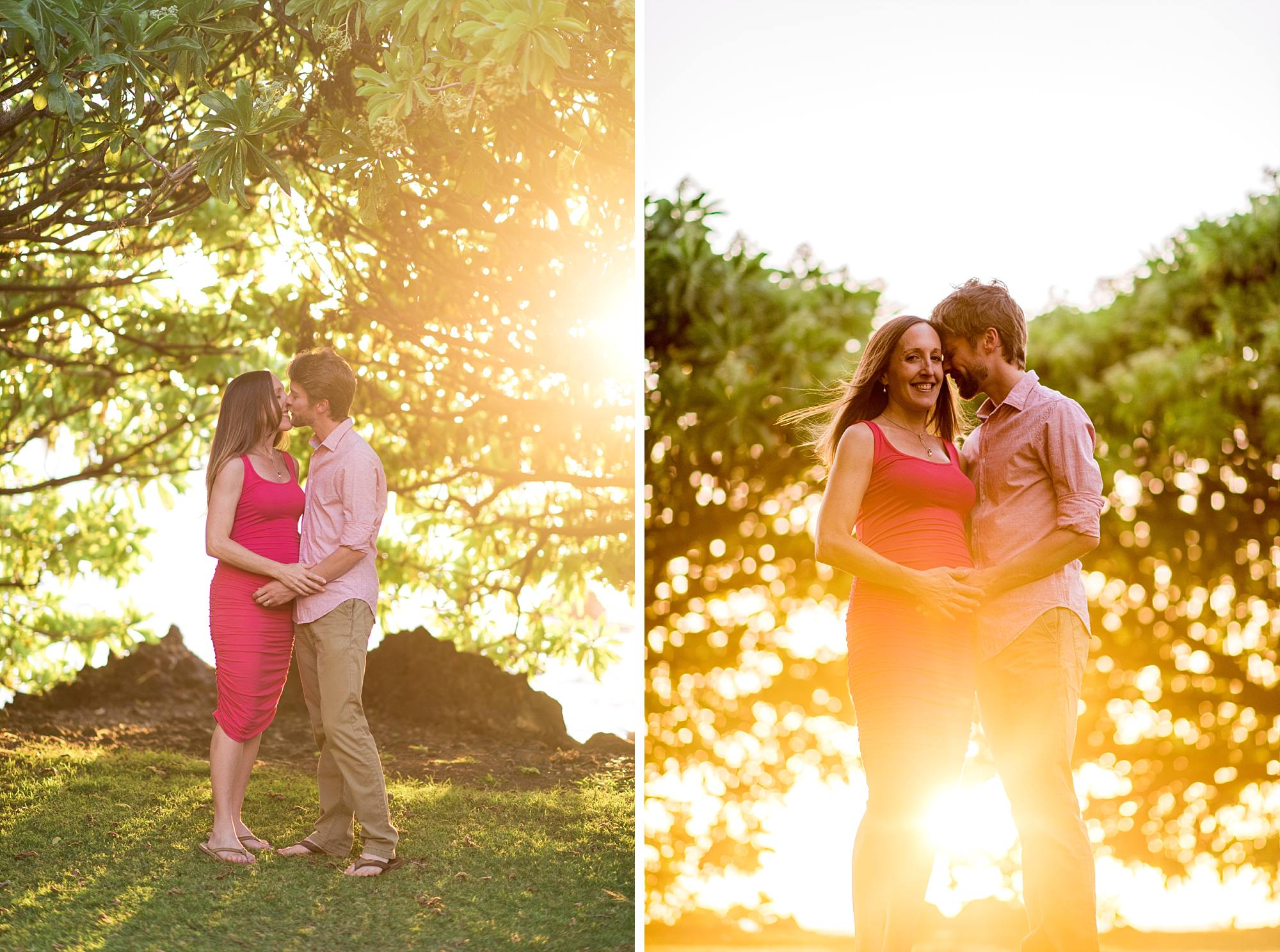 25-weeks pregnant and taking incredible maternity shots on Maui with the light streaming through the trees behind them