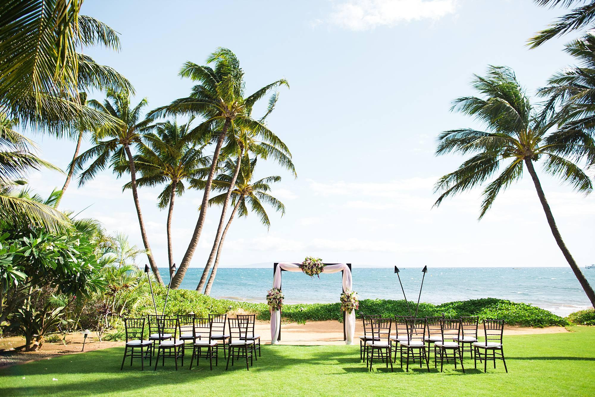 Wedding set up on Sugar Beach Maui with ocean backdrop