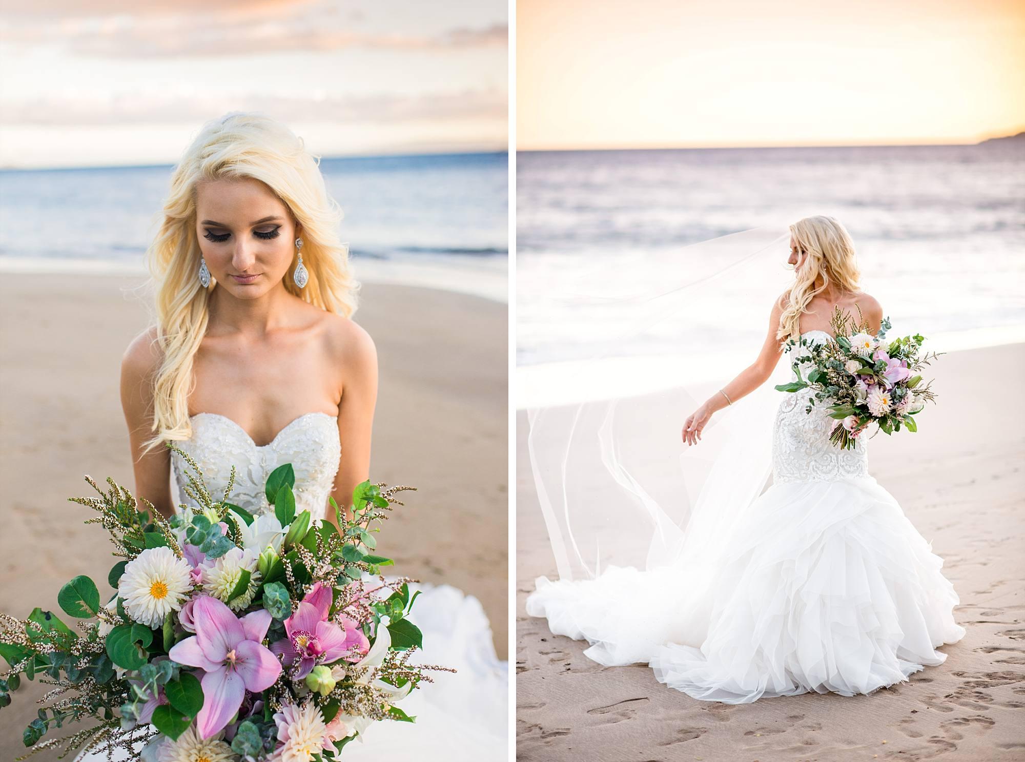 bridal shots on Sugar Beach Maui, veil flowing in the wind