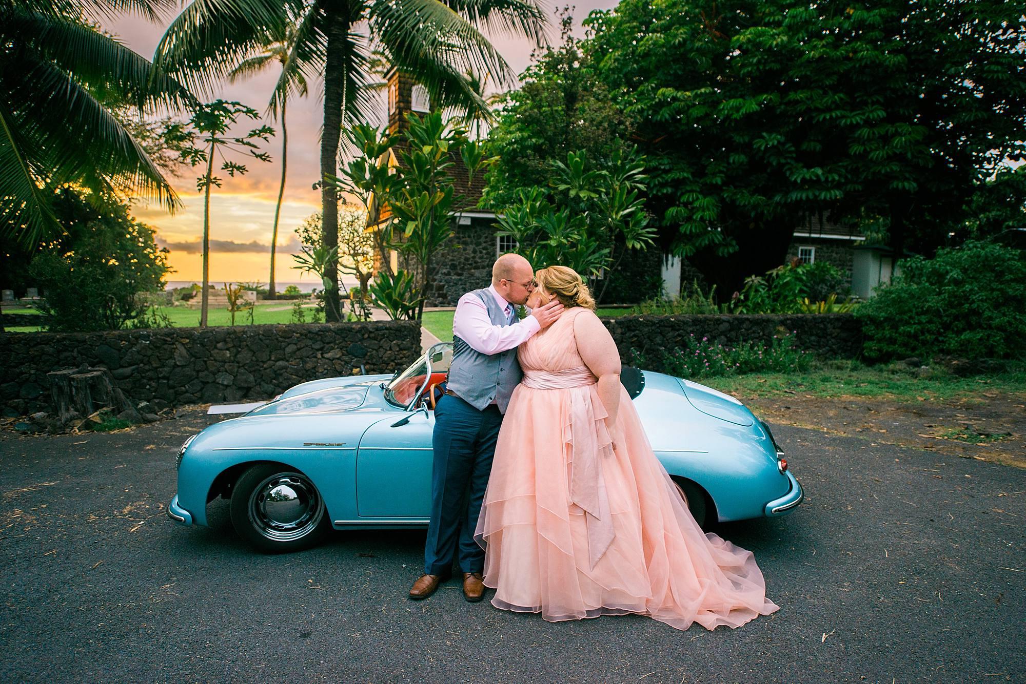 Maui roadster wedding in Maui, hawaii