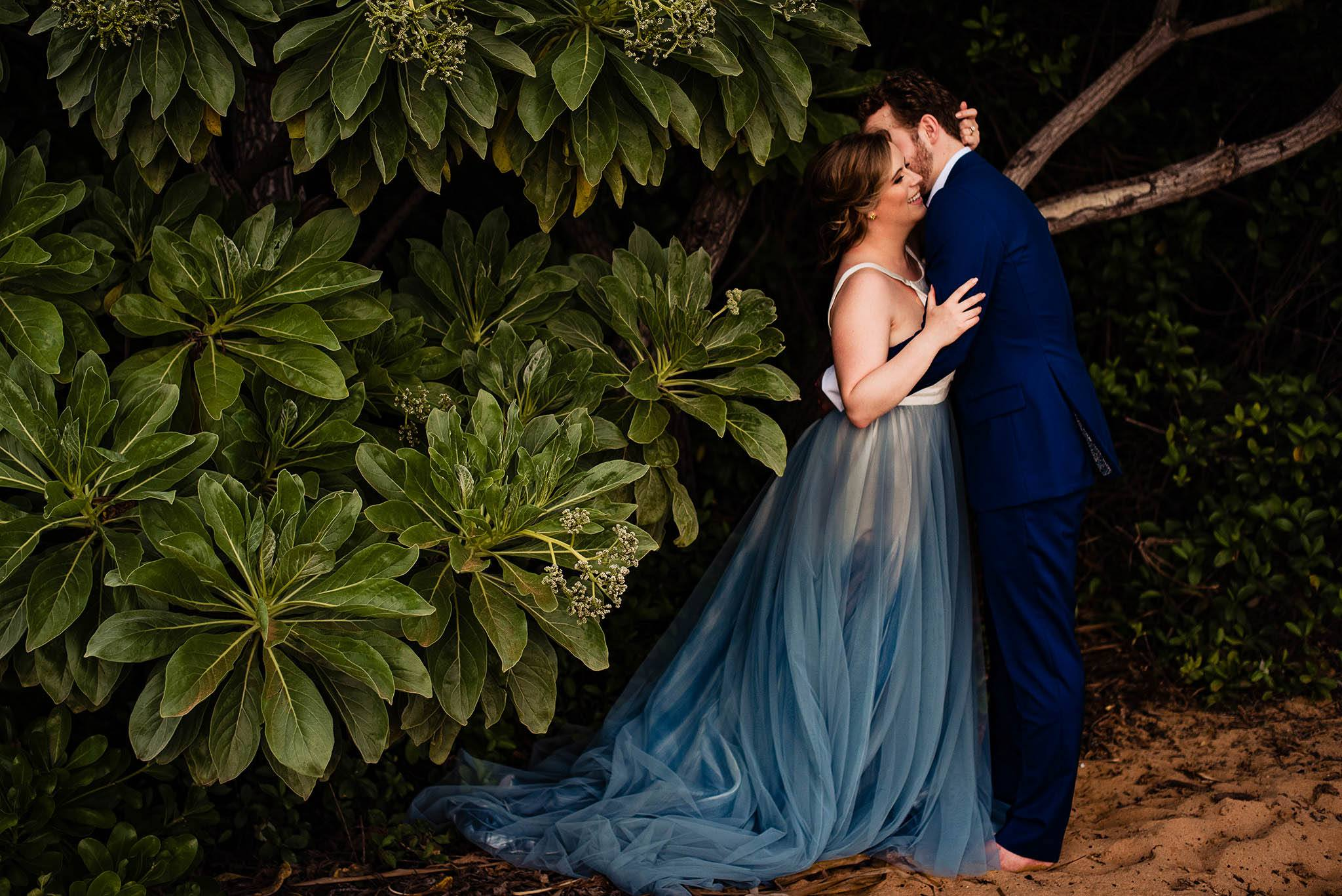 Maui elopement with blue dress