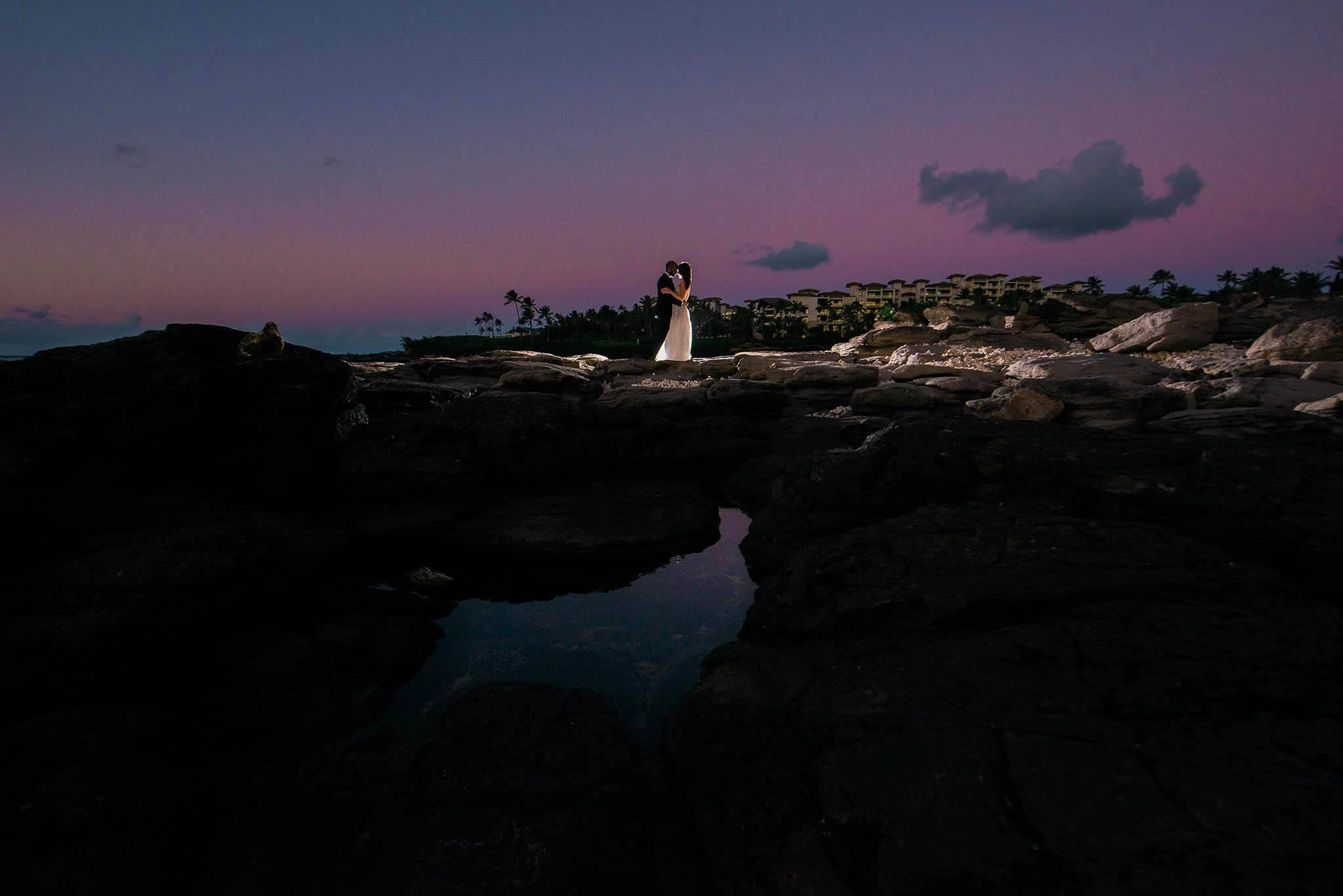 maui wedding at sunset at merrimans kapalua