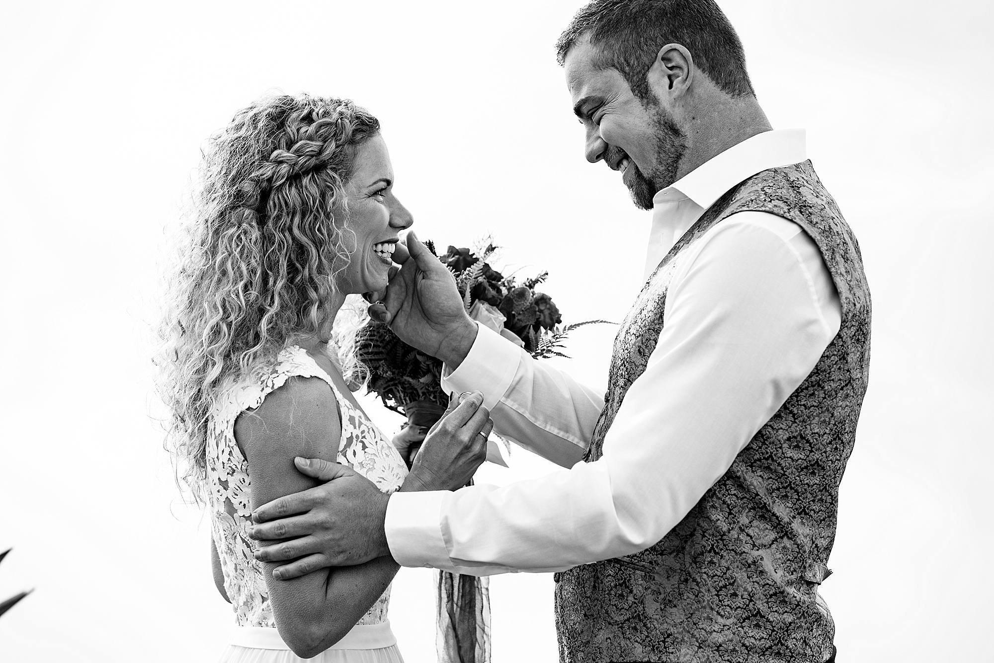 black and white portrait of wedding on haleakala