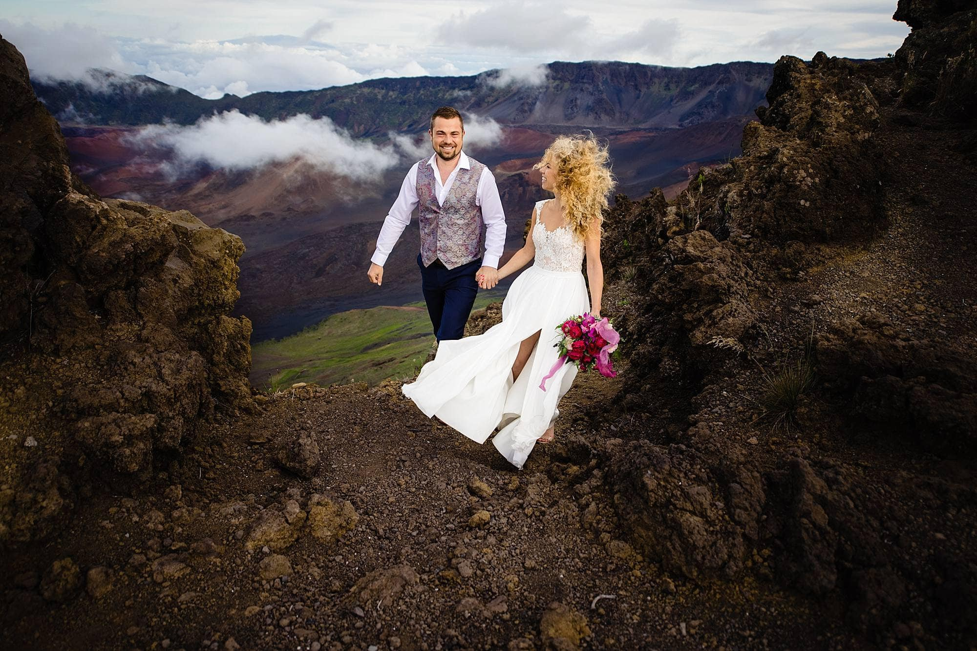 Austrian couple eloping in maui