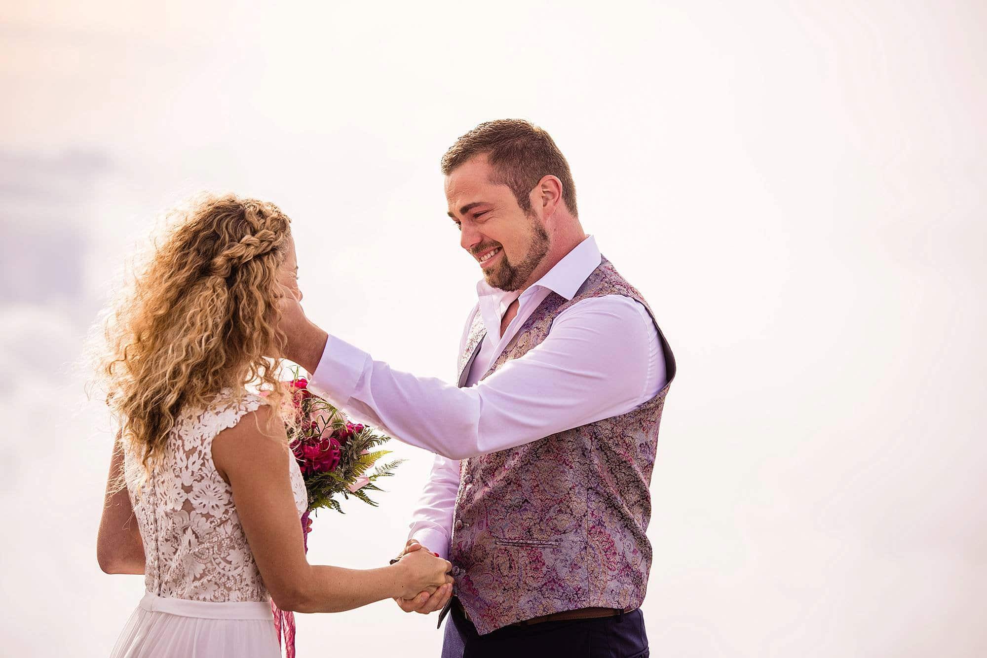 bride and groom on halekala