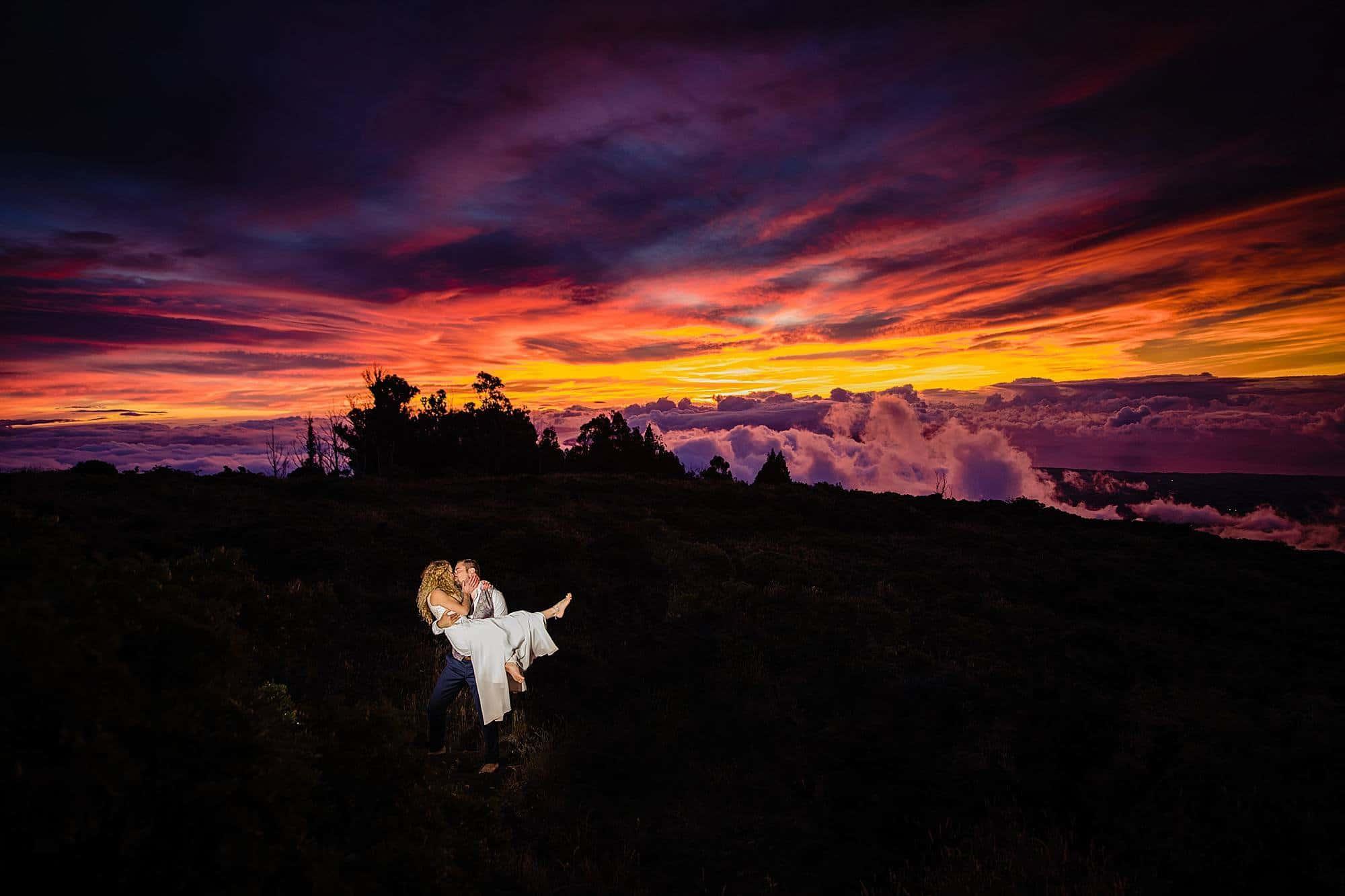epic haleakala sunset after wedding