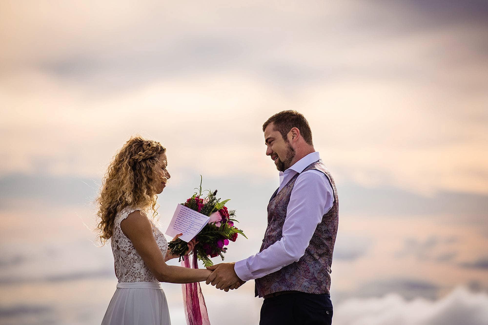 bride reading vows on haleakala crater