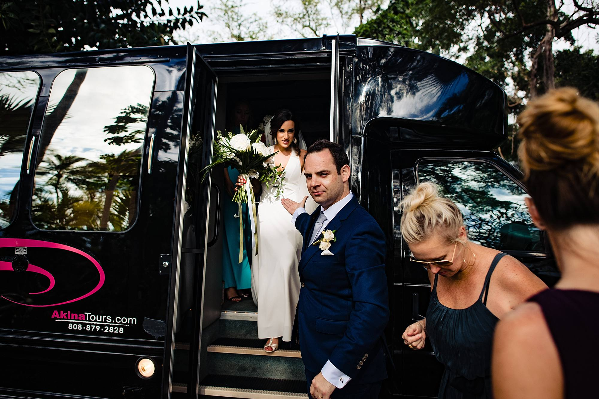 bride and groom party bus in maui