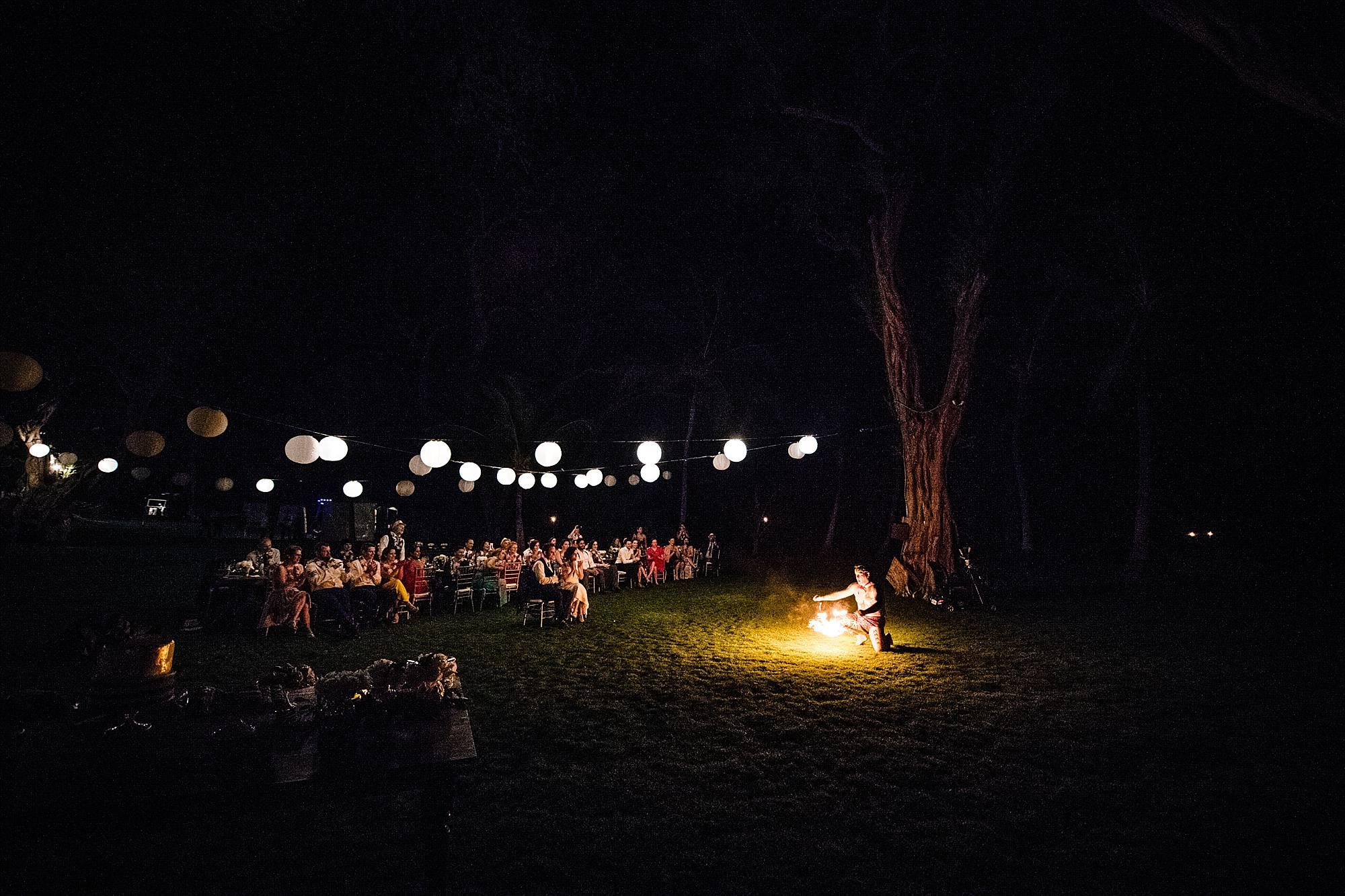 fire dancing at wedding