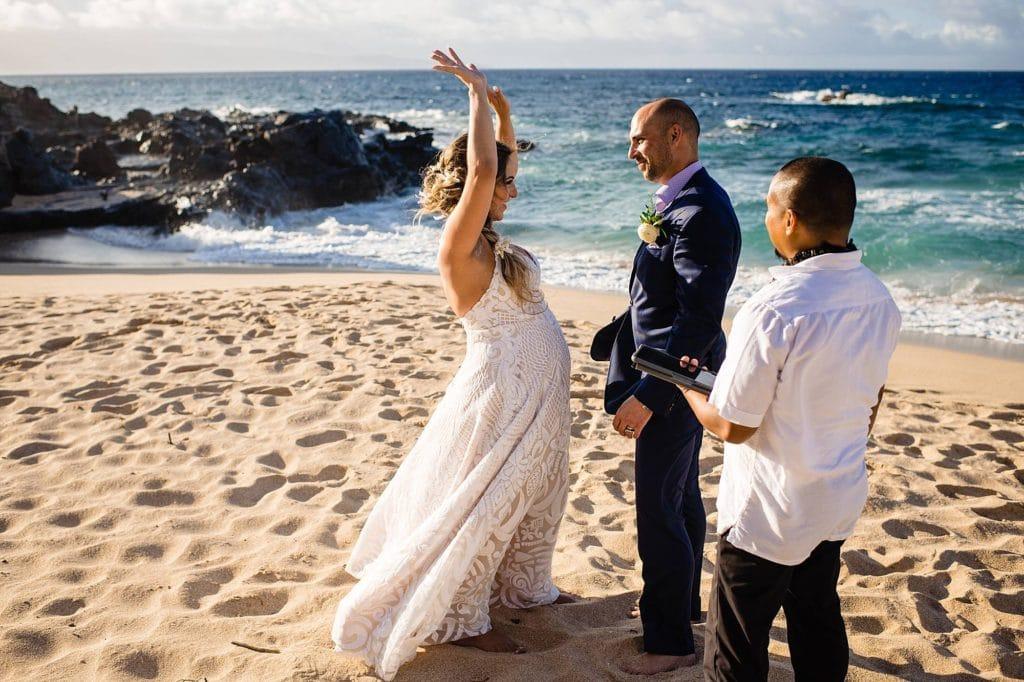 bride excited after wedding