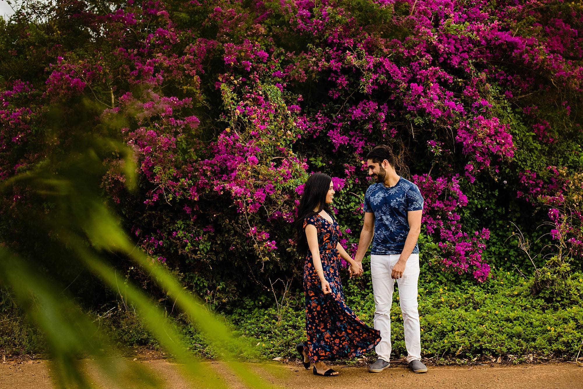 colorful engagement photography on kauai