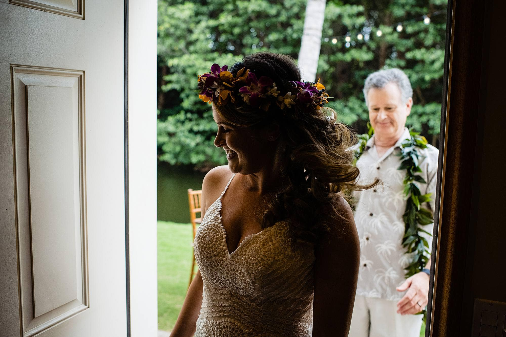 father seeing daughter on wedding day