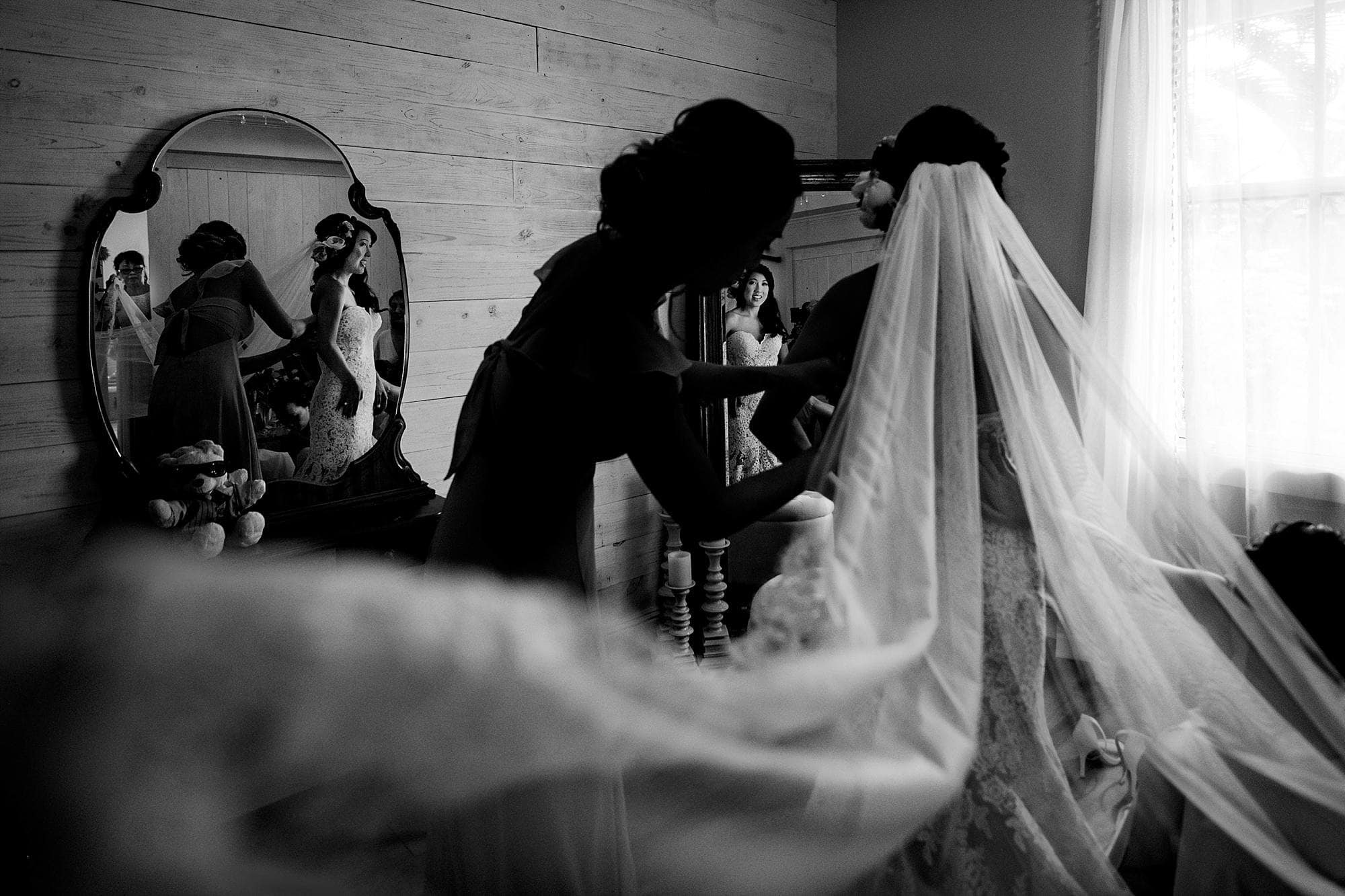 black and white image with bridal veil