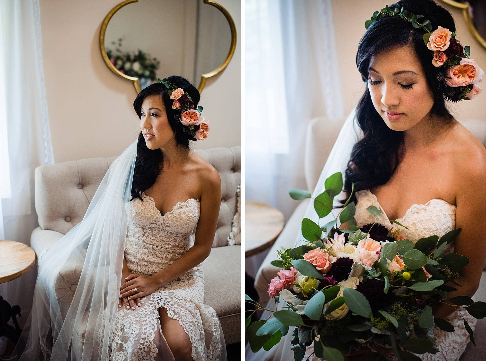 bride in bridal room at Steeple House Kapalua