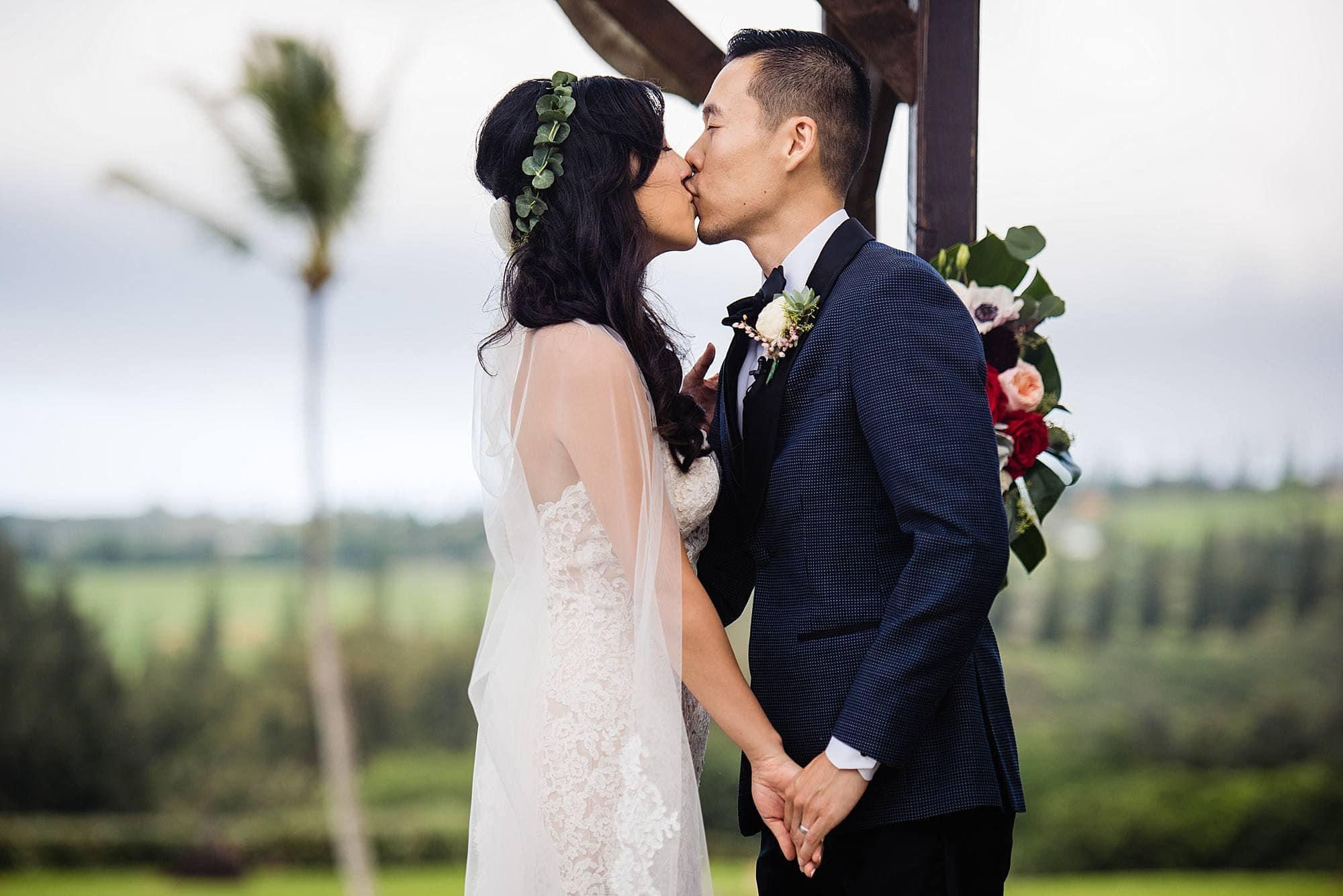 first kiss at Steeple House Kapalua