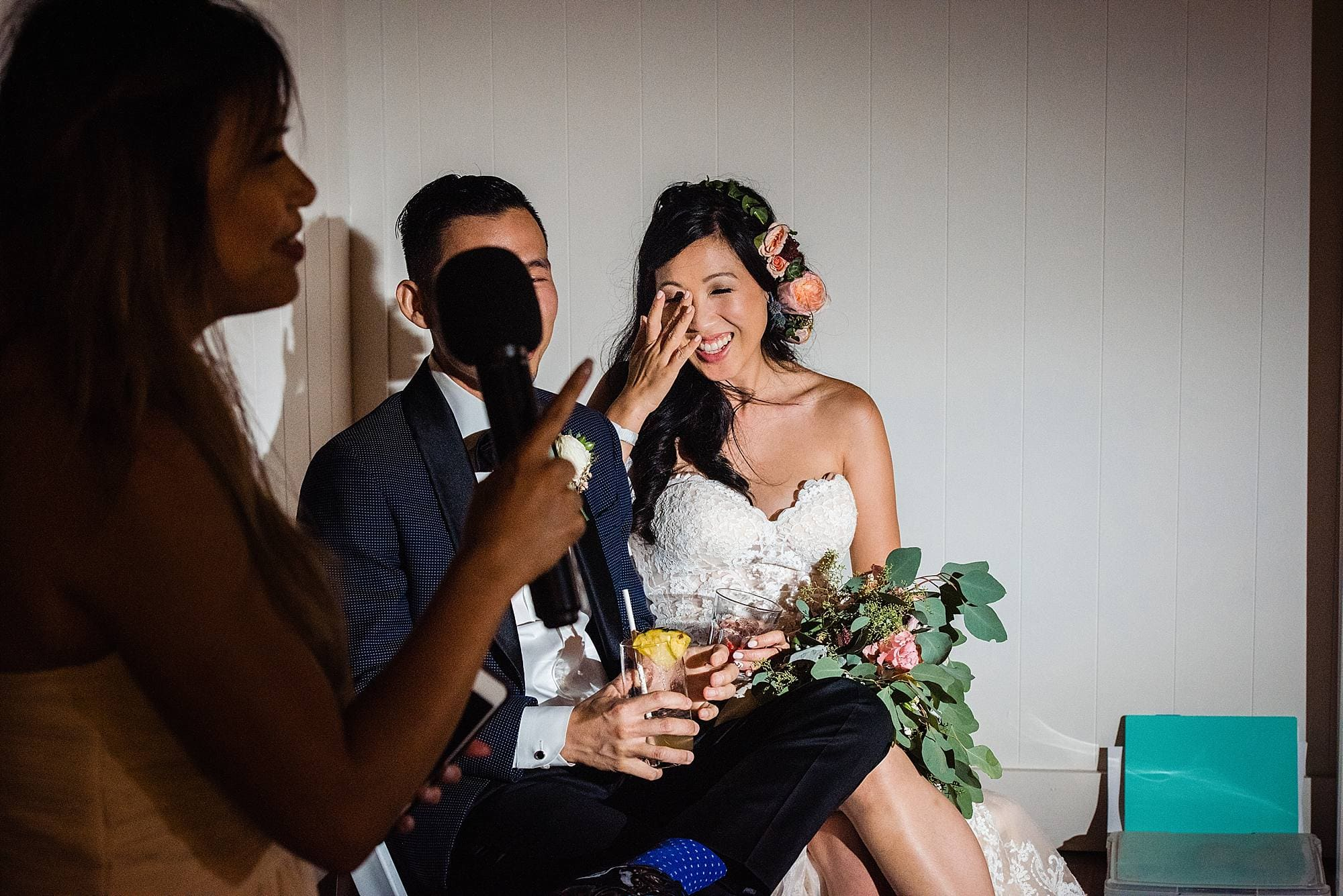 bride reacting to maid of honor's speech