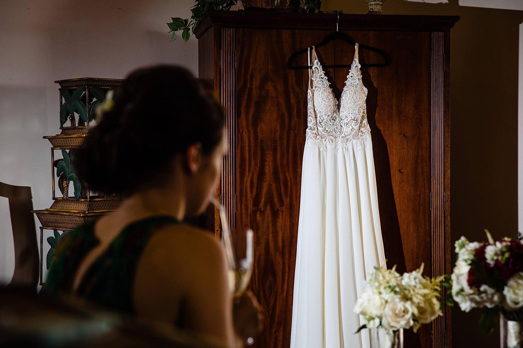 dress hanging in kukahiko estate