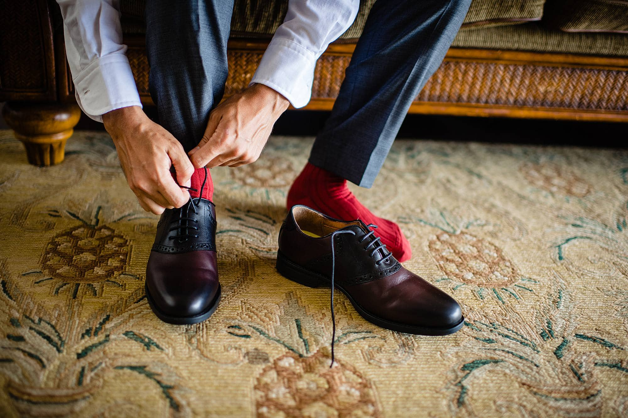 groom with red socks