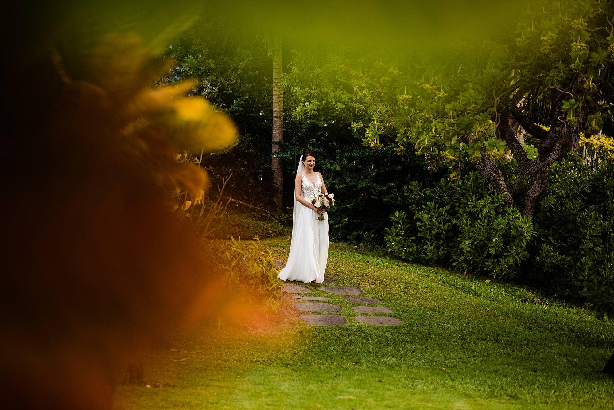 bride walking herself down the aisle