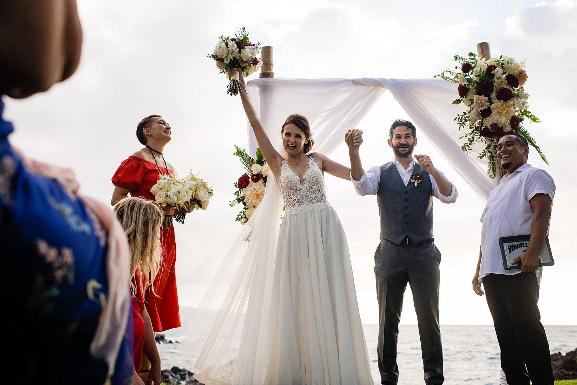 bride and groom excited after ceremony - Ukrainian ceremony
