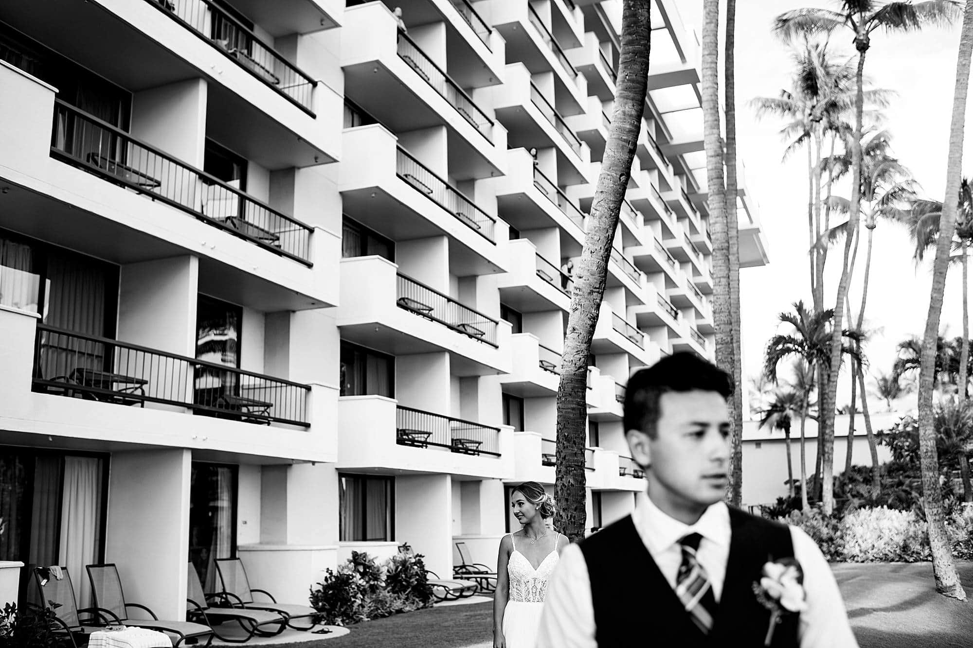 bride and groom before first look