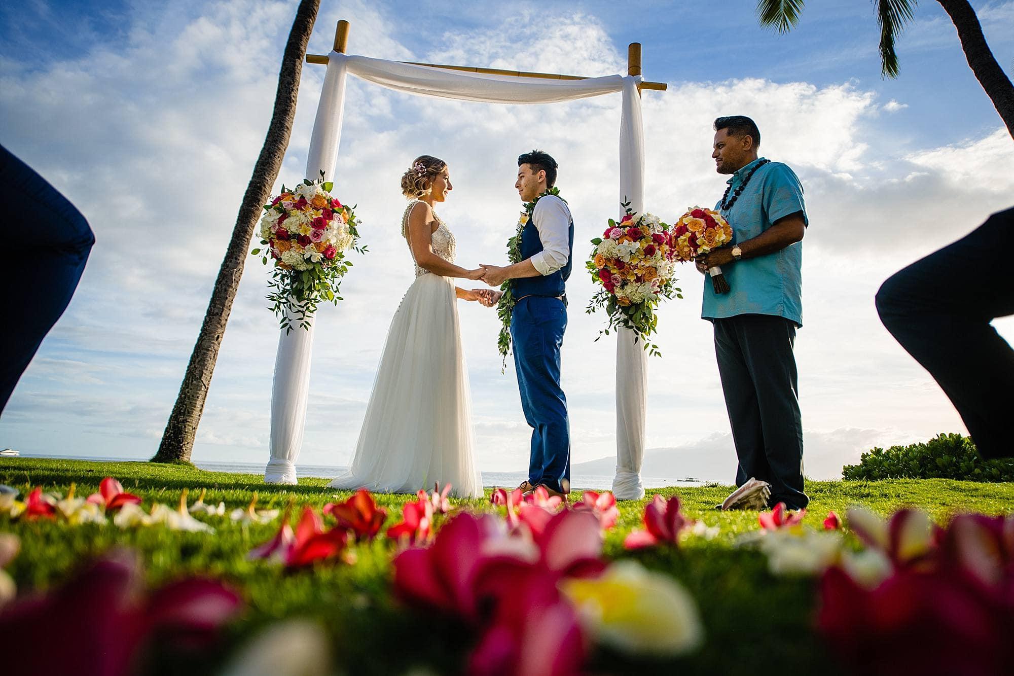 plumeria flower aisle at maui wedding