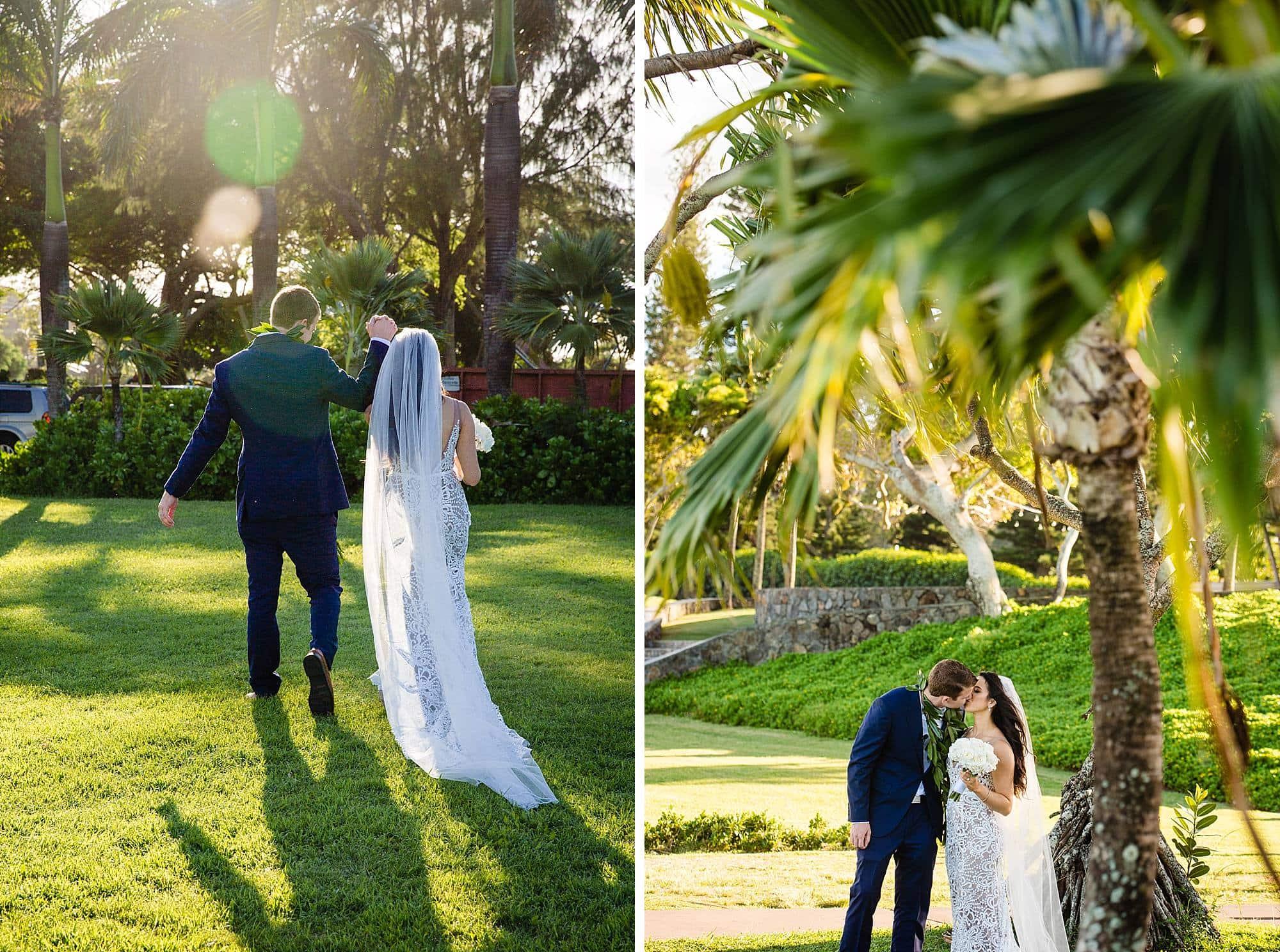 bride and groom celebrating after wedding at ritz carlton kapalua
