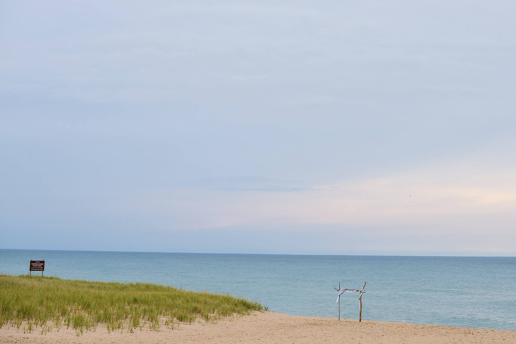 warren dunes state park wedding setup