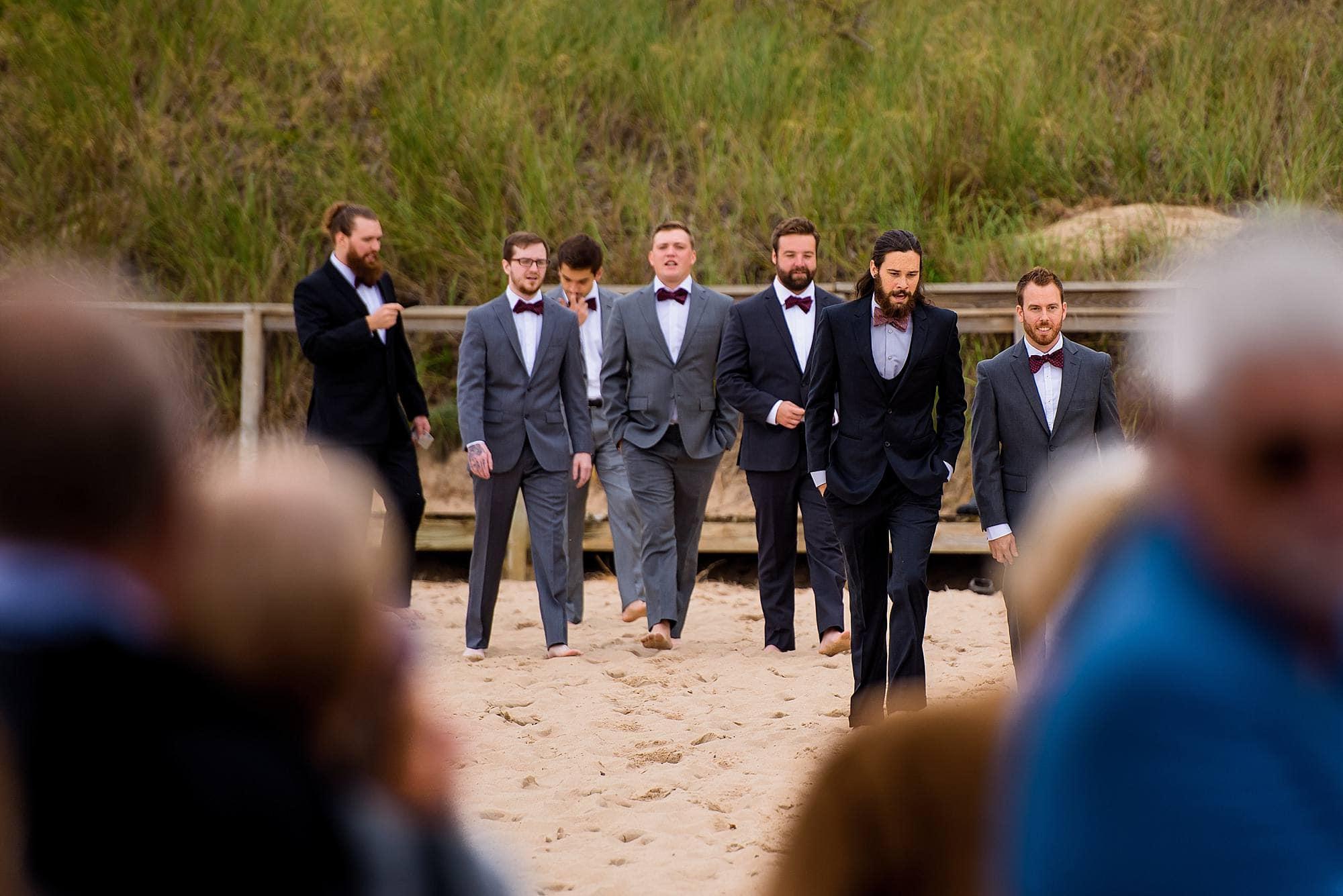 groomsmen walking to ceremony