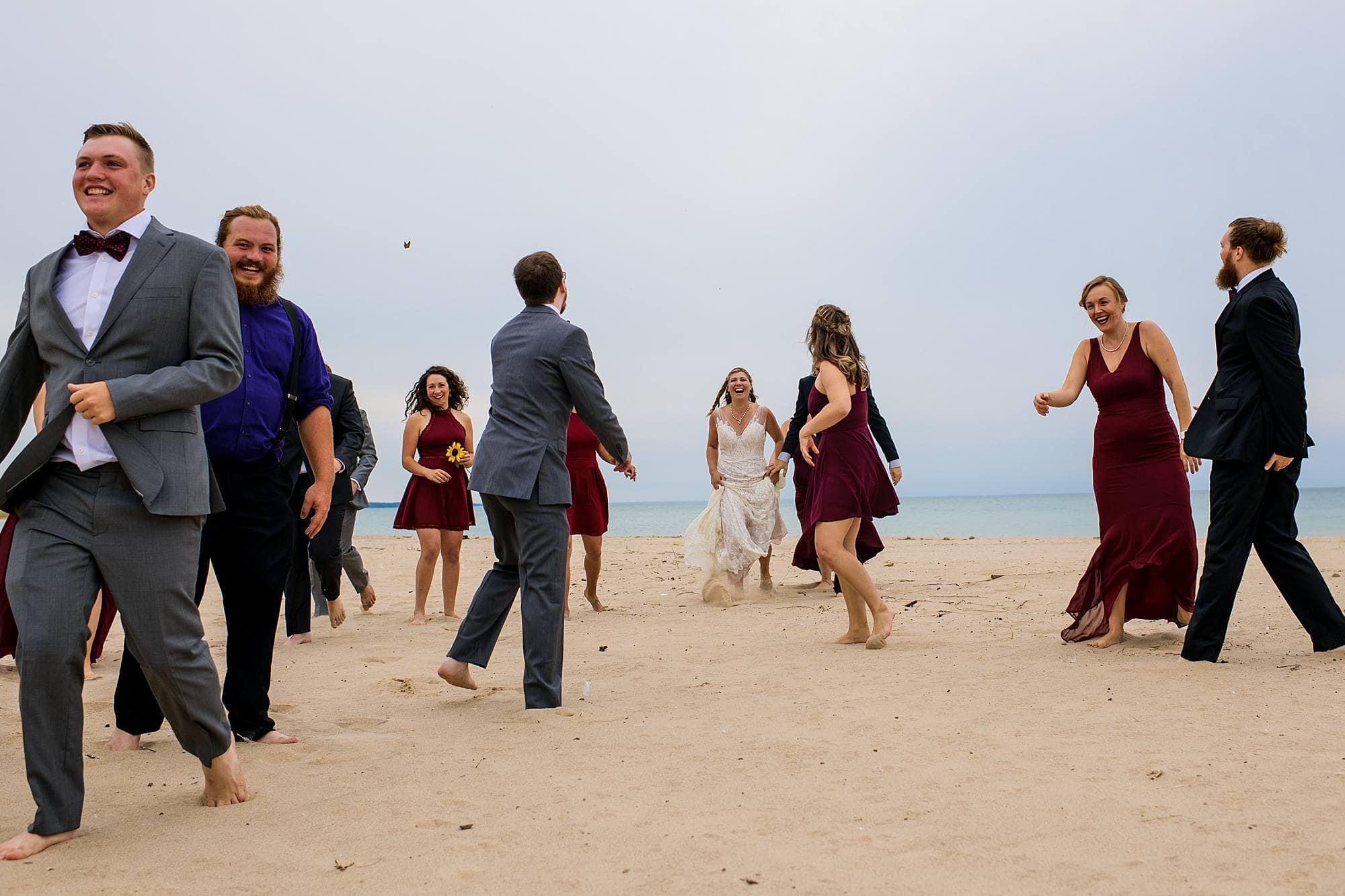 wedding party photos at warren dunes state park