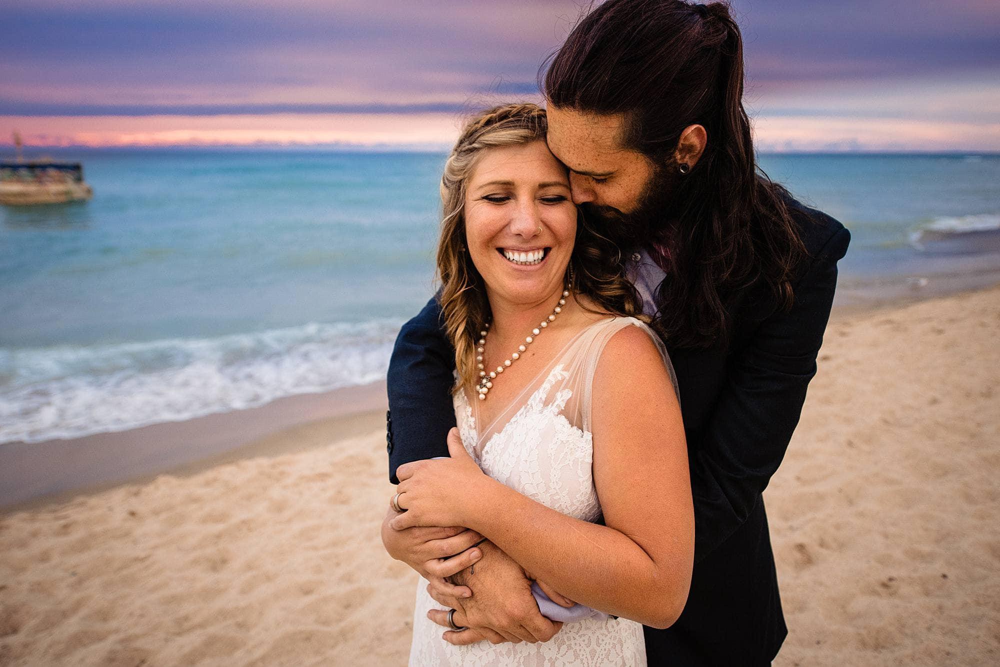 bride and groom at warren dunes state park