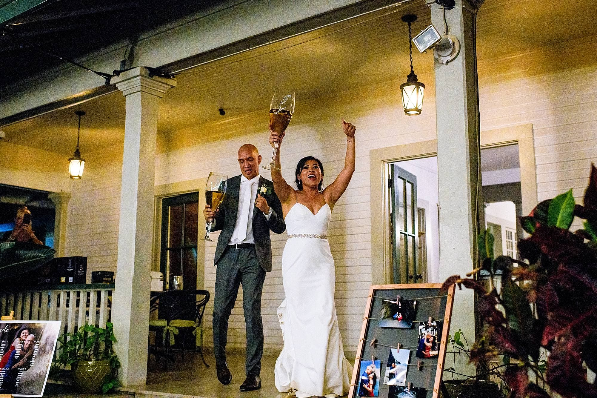 extra large wine glasses for grand entrance at olowalu plantation house
