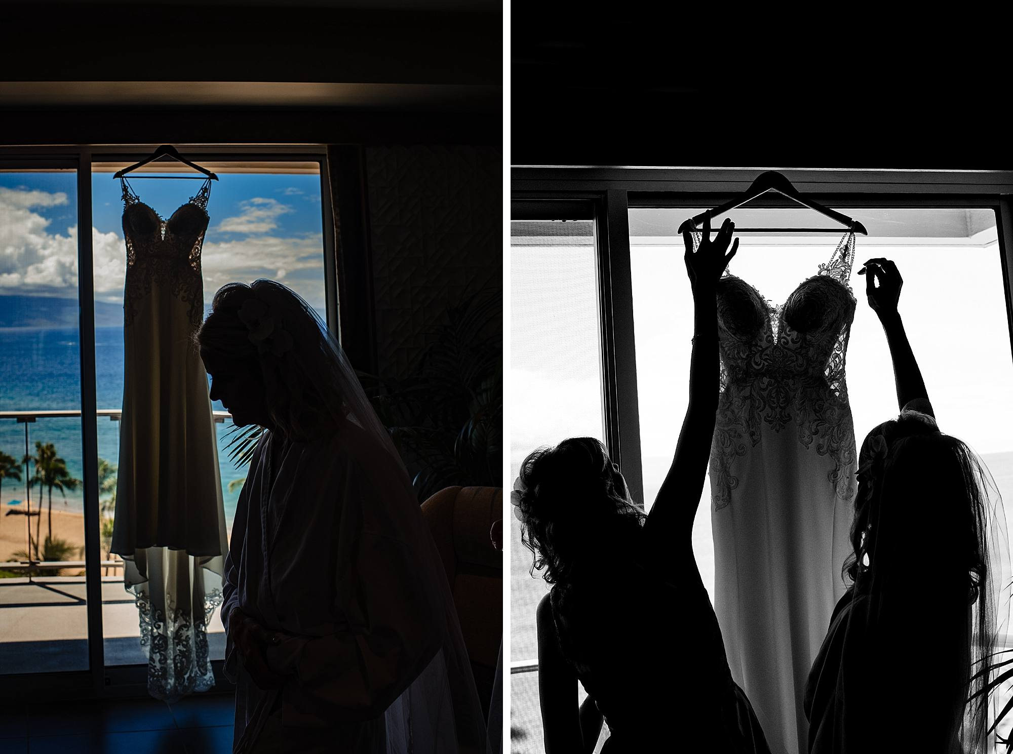 bride getting her dress on at westin maui