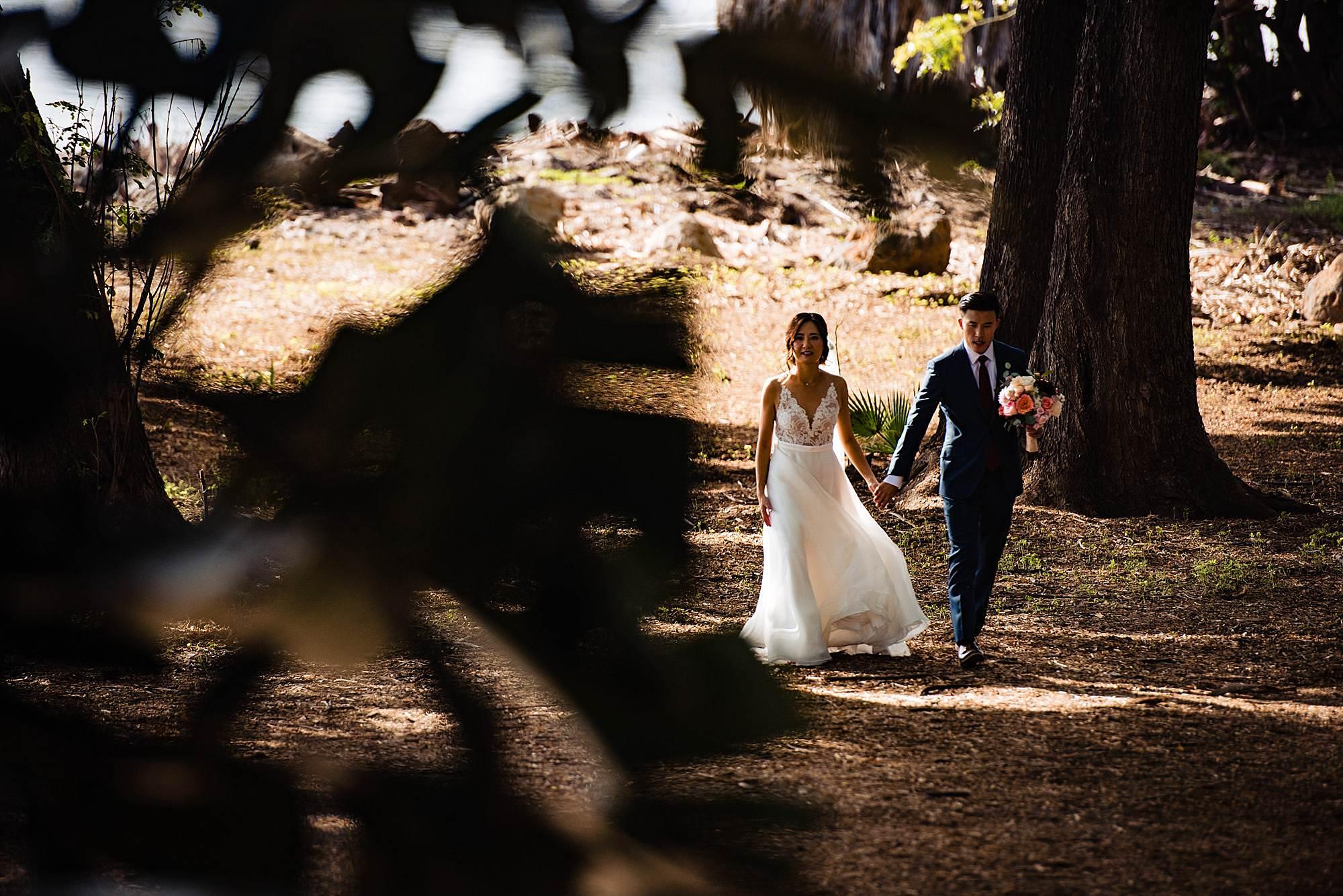 bride at groom heading back to Olowalu Plantation House