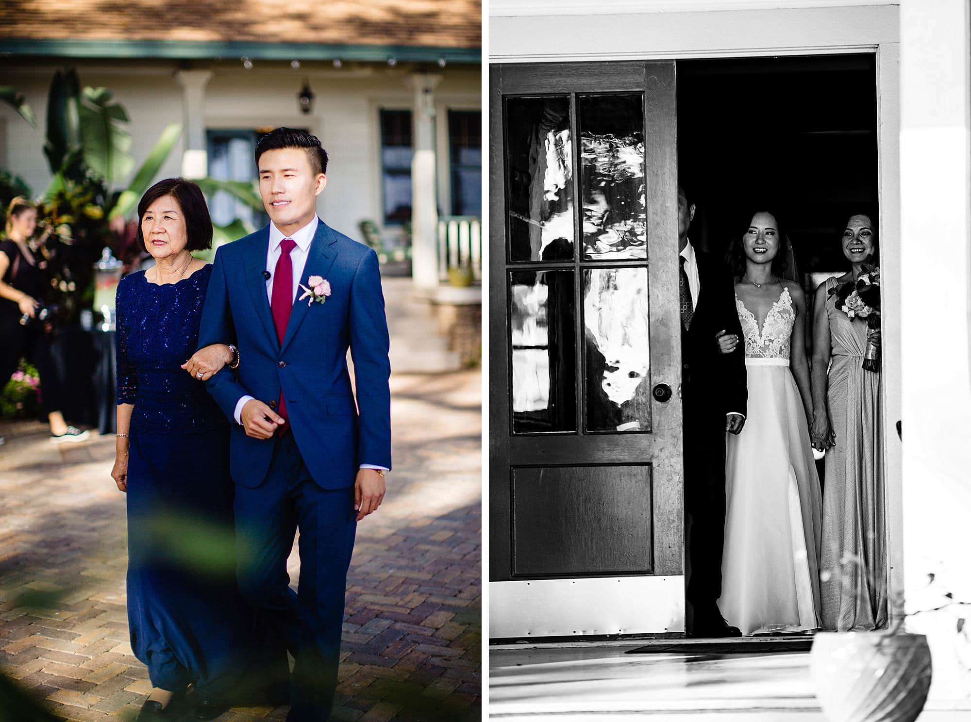groom walking mother down the aisle at Olowalu Plantation House